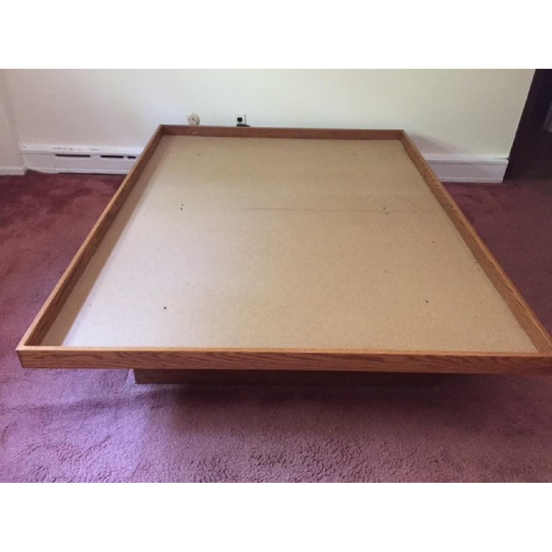 Queen Oak Platform Bed w/ 2 Drawers - image-1