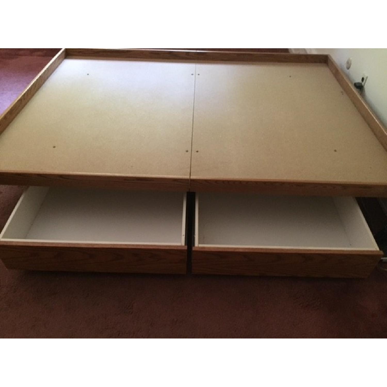 Queen Oak Platform Bed w/ 2 Drawers - image-2