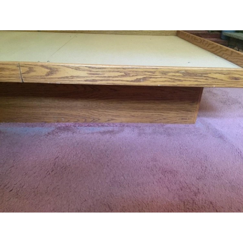 Queen Oak Platform Bed w/ 2 Drawers - image-3