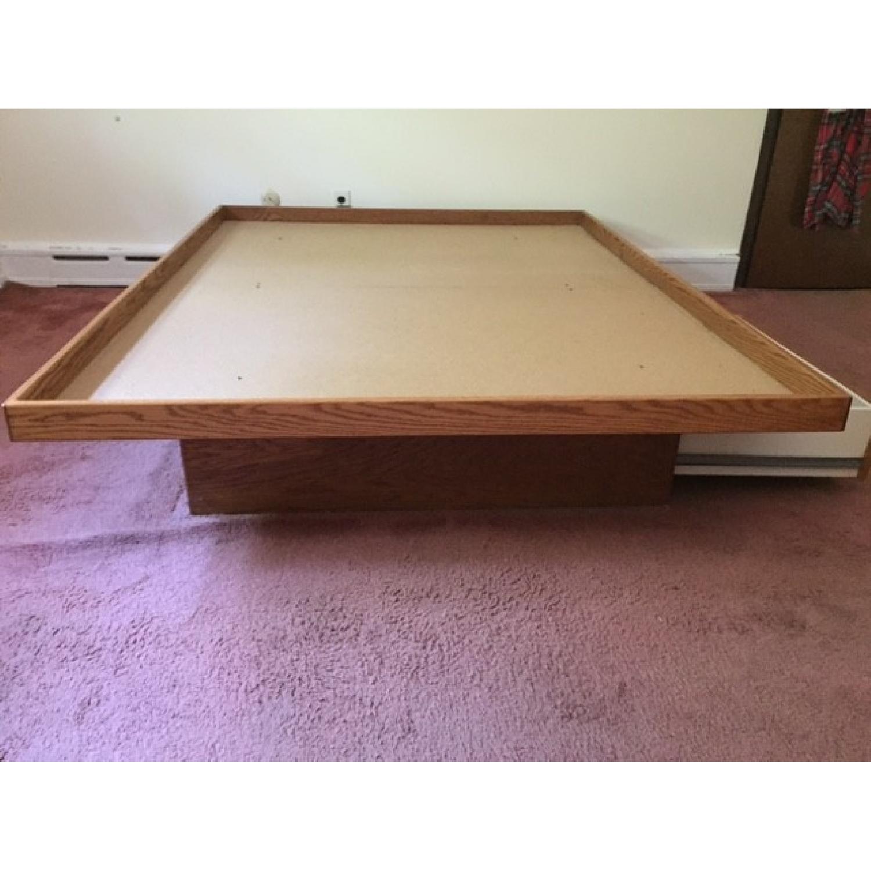 Queen Oak Platform Bed w/ 2 Drawers - image-4