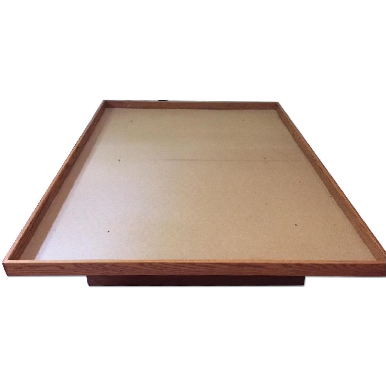 Queen Oak Platform Bed w/ 2 Drawers - image-0