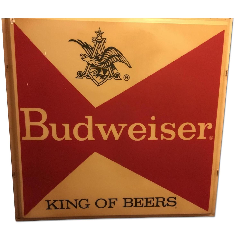 Large Vintage Budweiser Advertising Sign - image-0