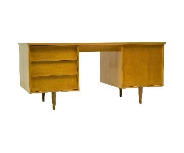 Florence Knoll Mid Century Modern Birch Wood Desk w/ Crackle Finish Top
