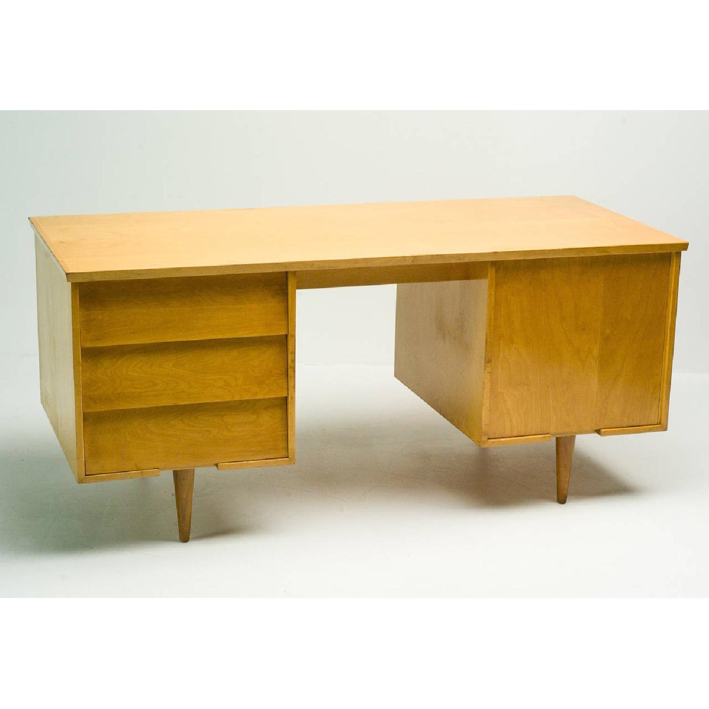Florence Knoll  Mid Century Modern Birch Wood Desk w/ Crackl - image-1