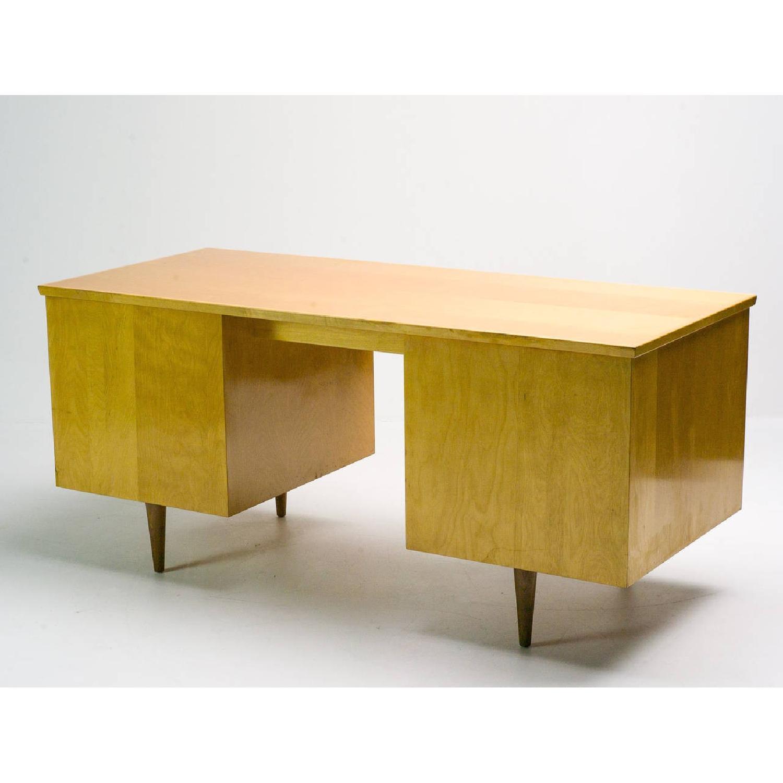 Florence Knoll  Mid Century Modern Birch Wood Desk w/ Crackl - image-2