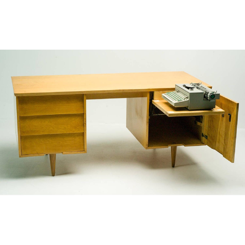 Florence Knoll  Mid Century Modern Birch Wood Desk w/ Crackl - image-3
