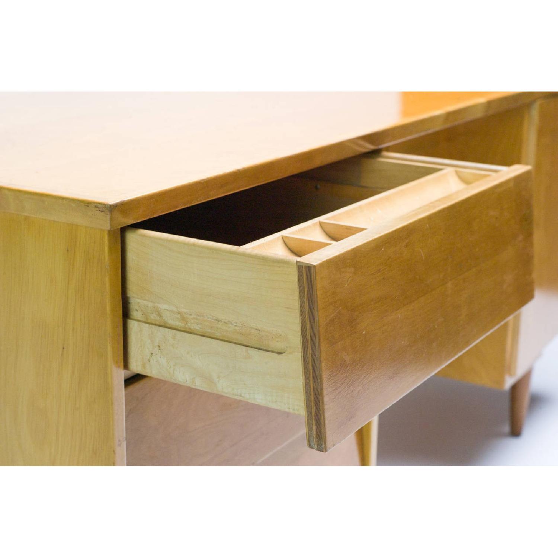 Florence Knoll  Mid Century Modern Birch Wood Desk w/ Crackl - image-5