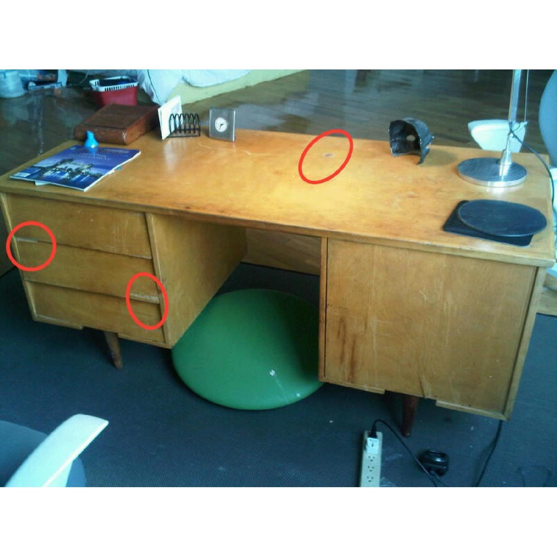 Florence Knoll  Mid Century Modern Birch Wood Desk w/ Crackl - image-6