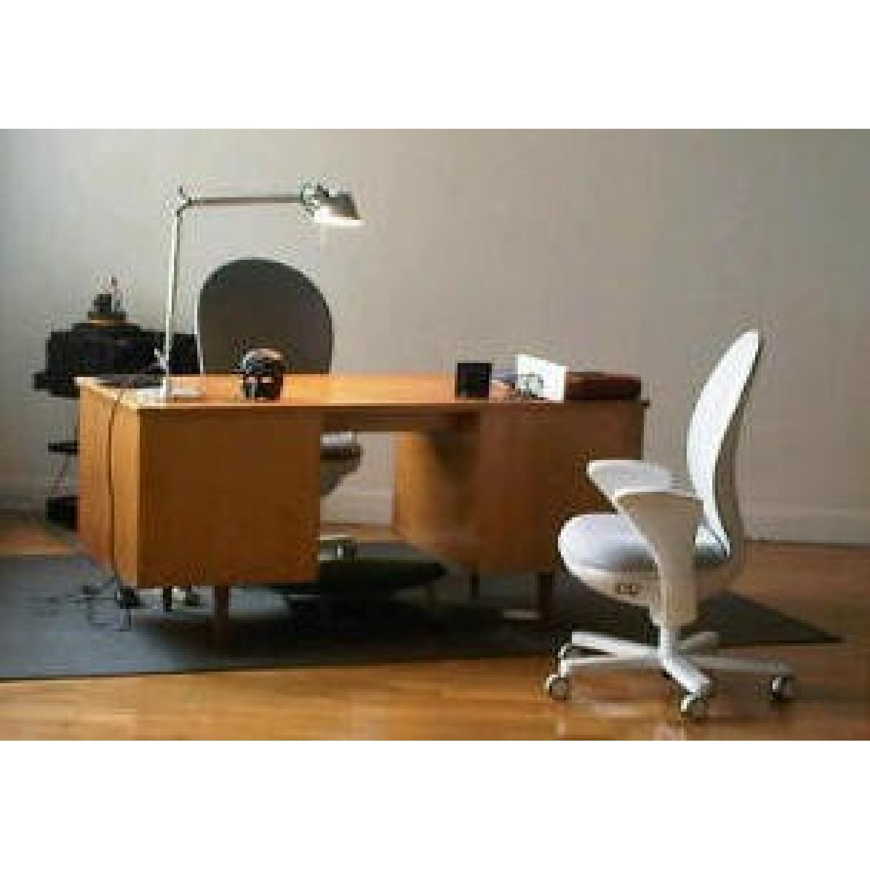Florence Knoll  Mid Century Modern Birch Wood Desk w/ Crackl - image-8