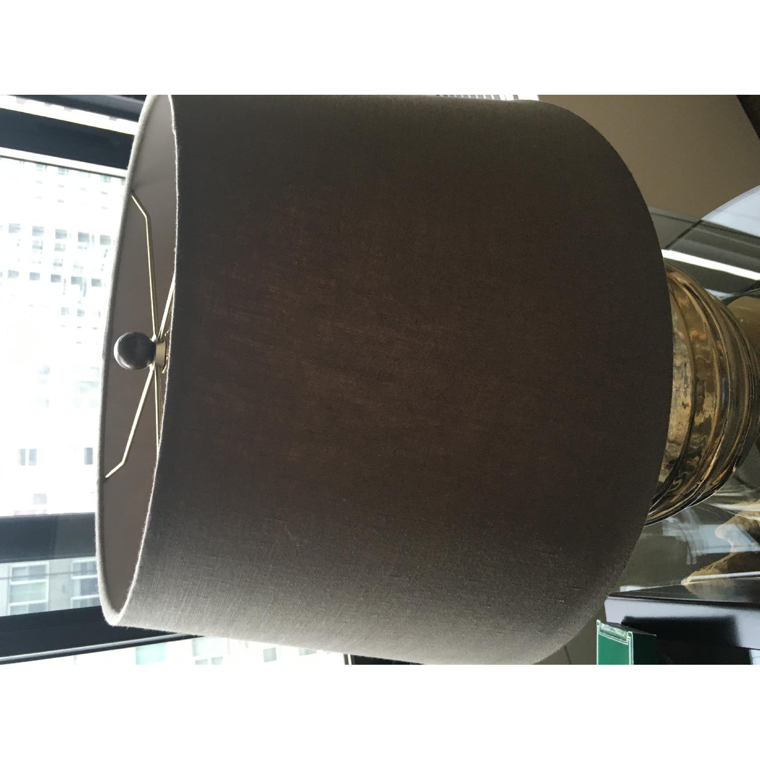 Crate & Barrel Bronze Glass Table Lamp w/ Neutral/Brown Shade - image-2