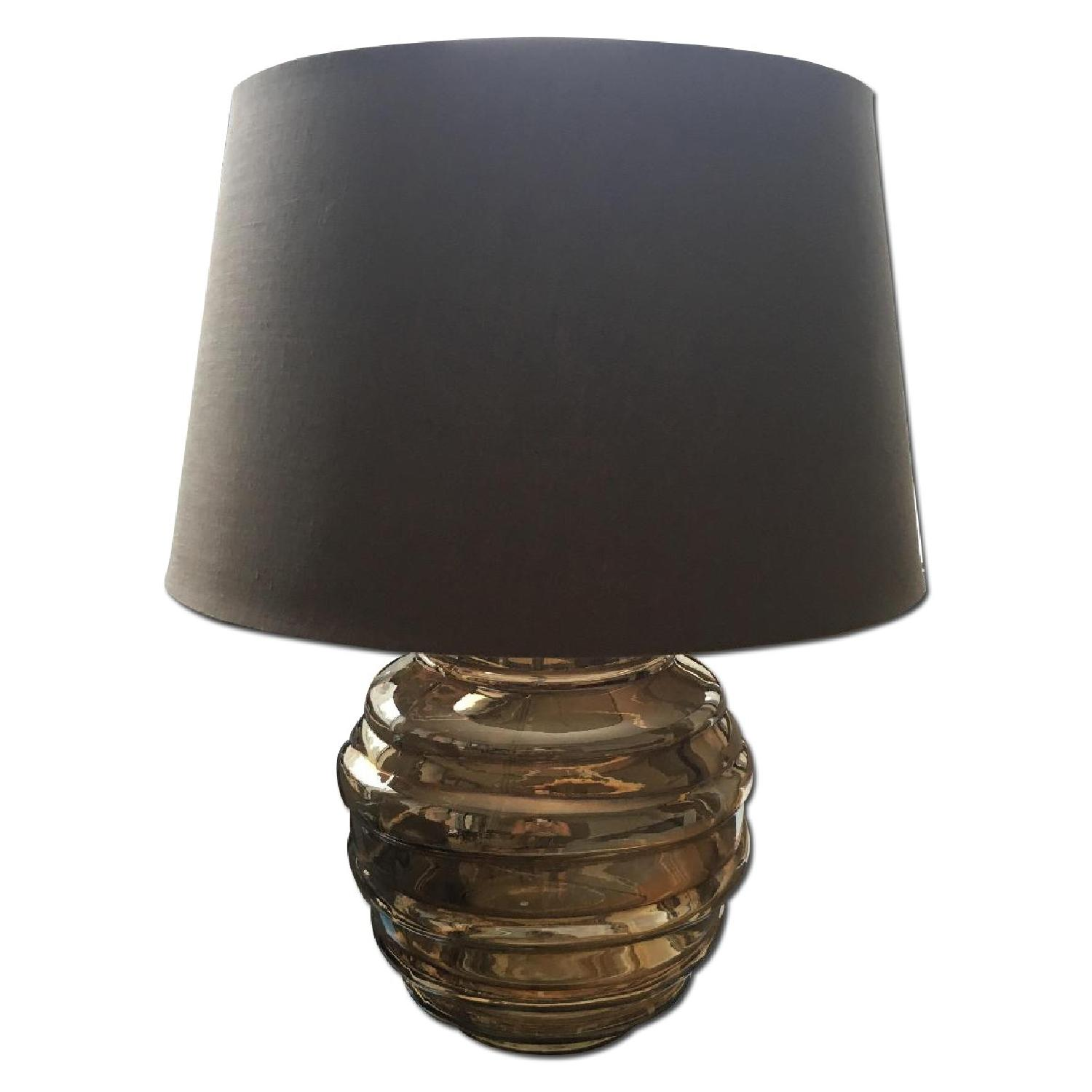 Crate & Barrel Bronze Glass Table Lamp w/ Neutral/Brown Shade - image-0