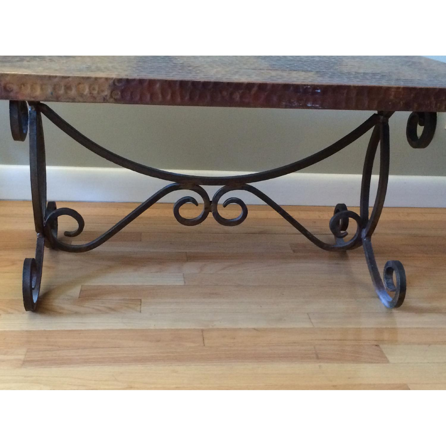 Hammered Copper Top Coffee Table - image-2
