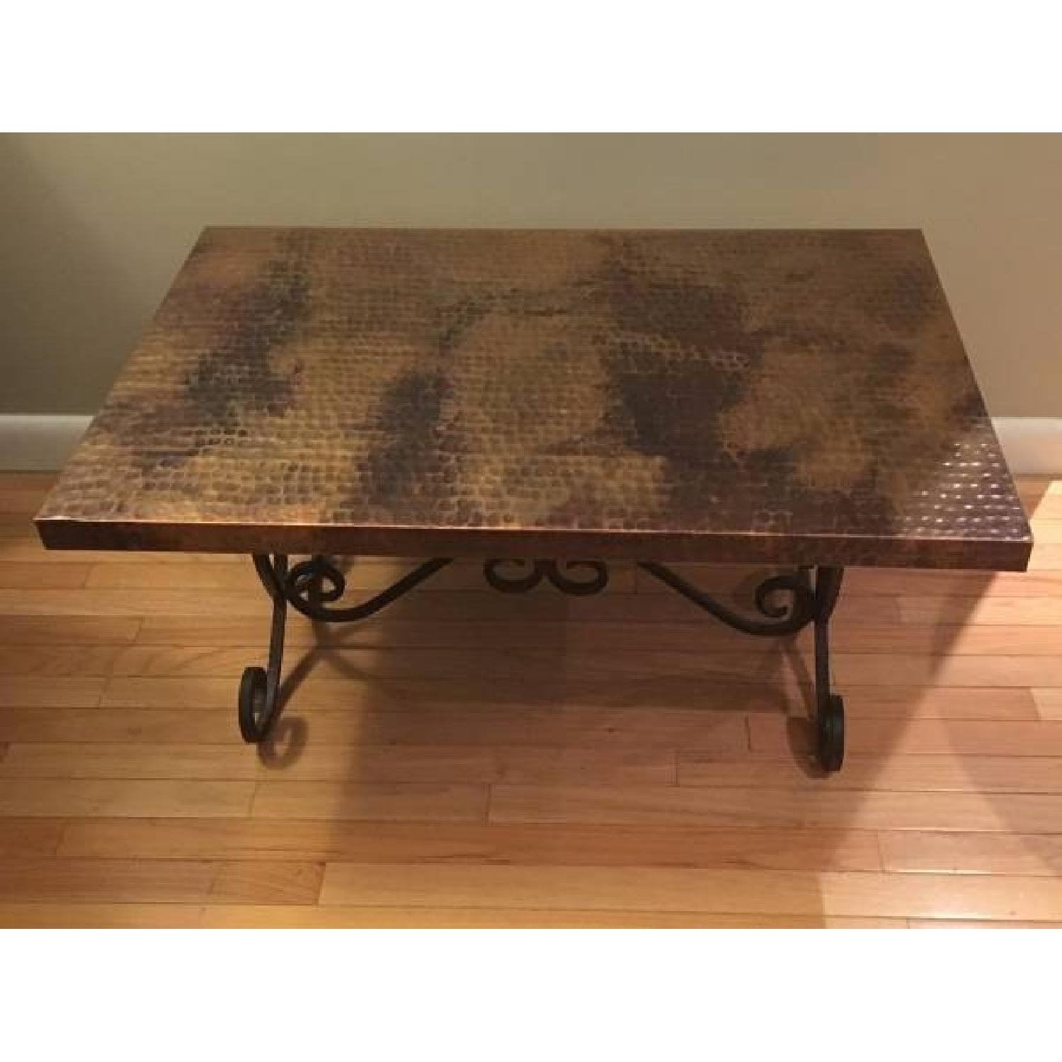 Hammered Copper Top Coffee Table - image-3