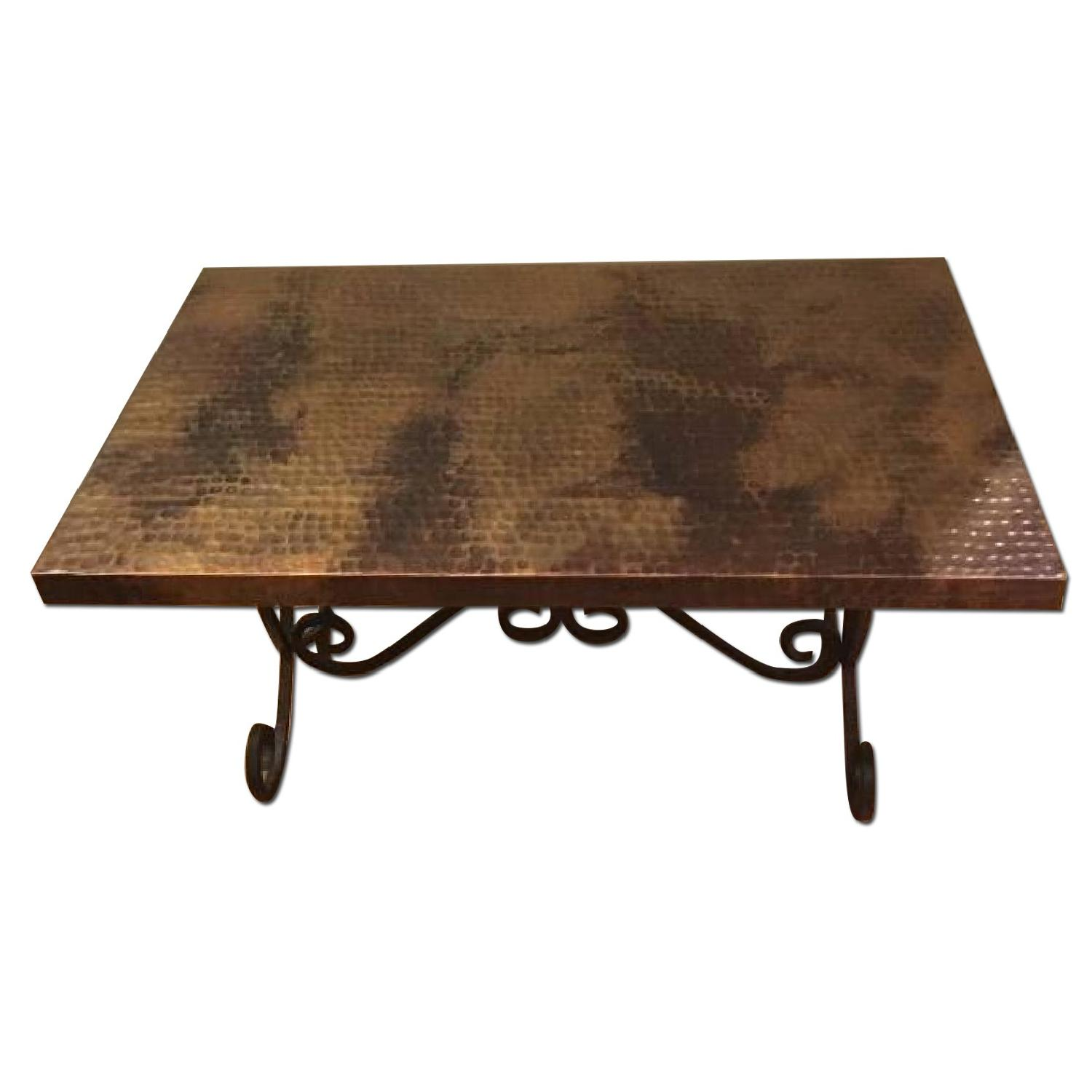 Hammered Copper Top Coffee Table - image-0