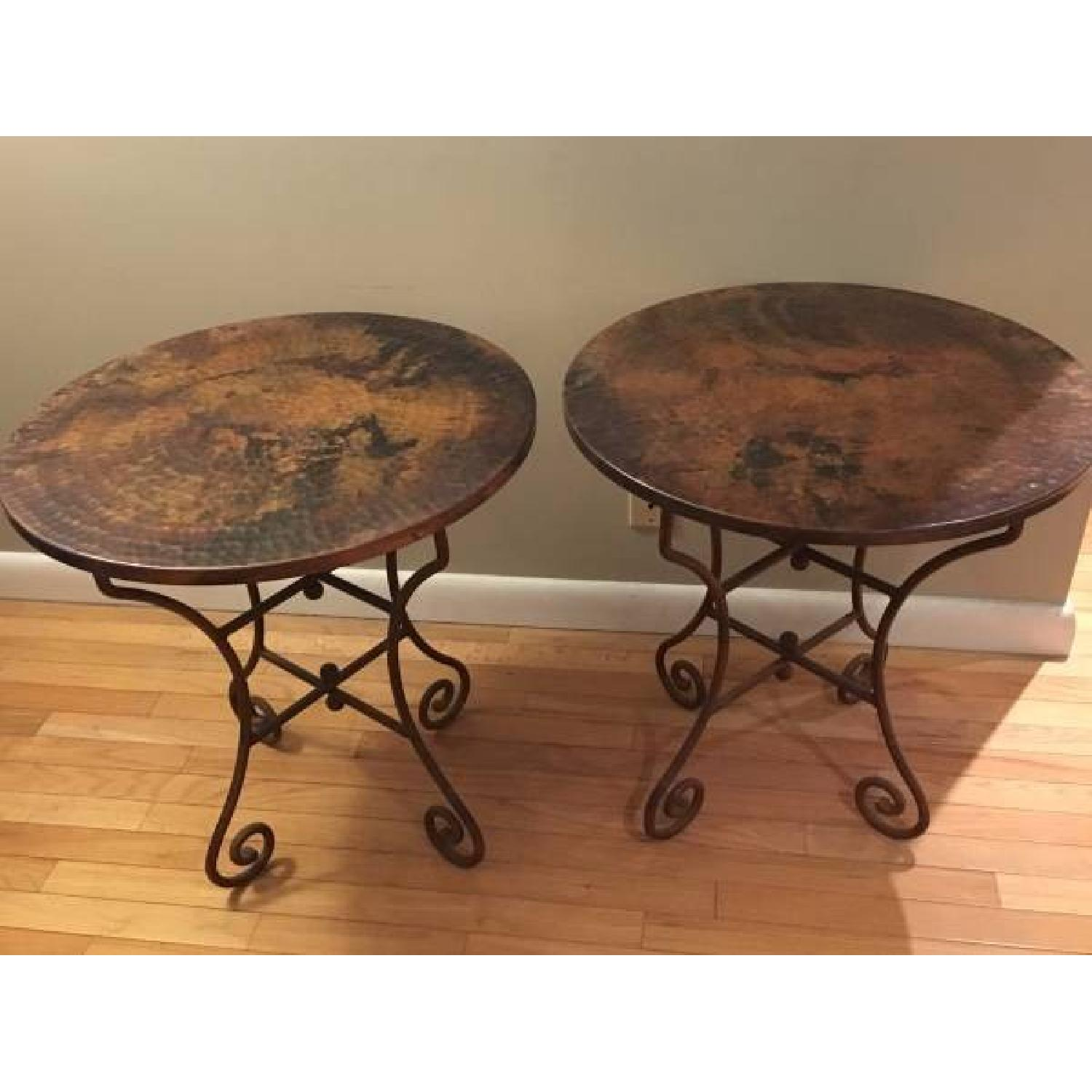 Hammered Copper Top End Tables - image-3
