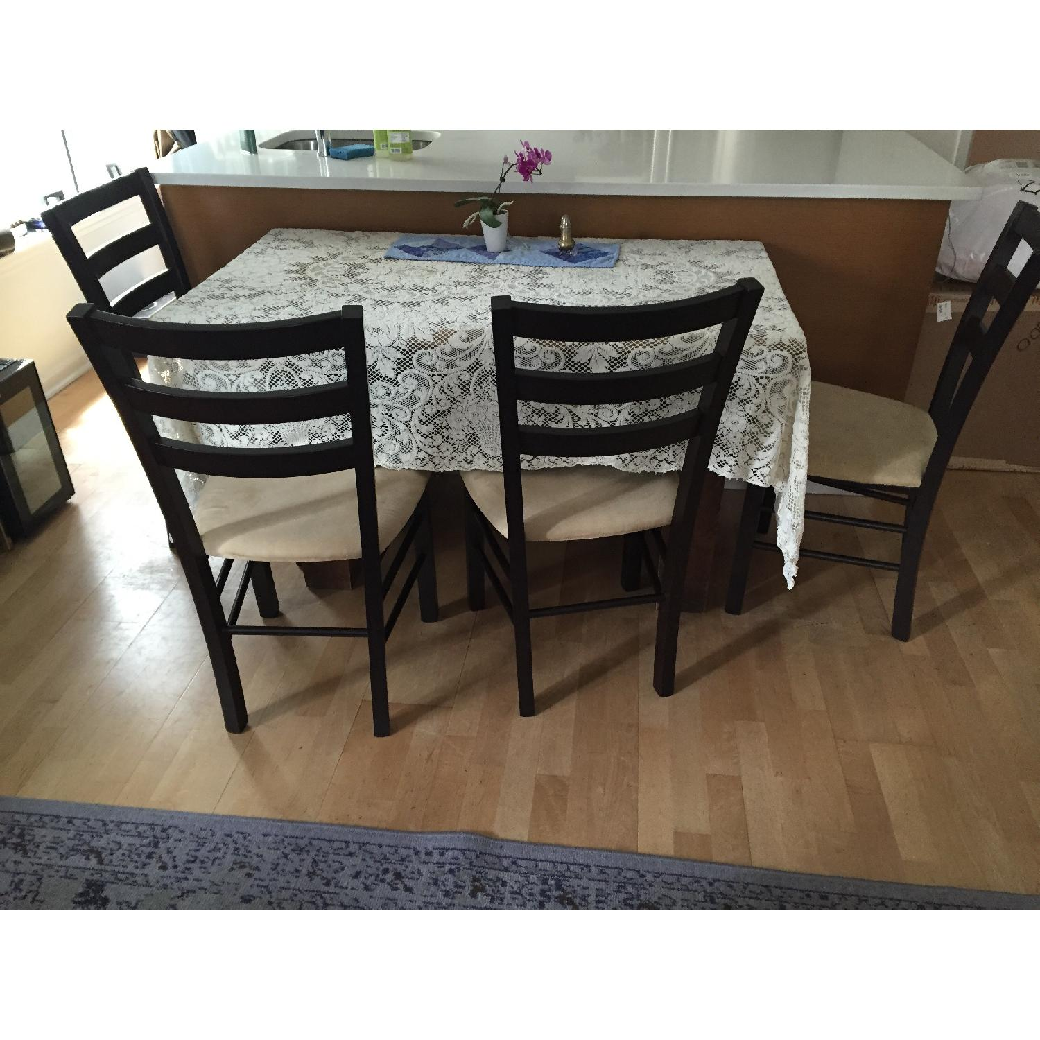 Macy's Wood & Tan Suede Dining Chairs - image-1