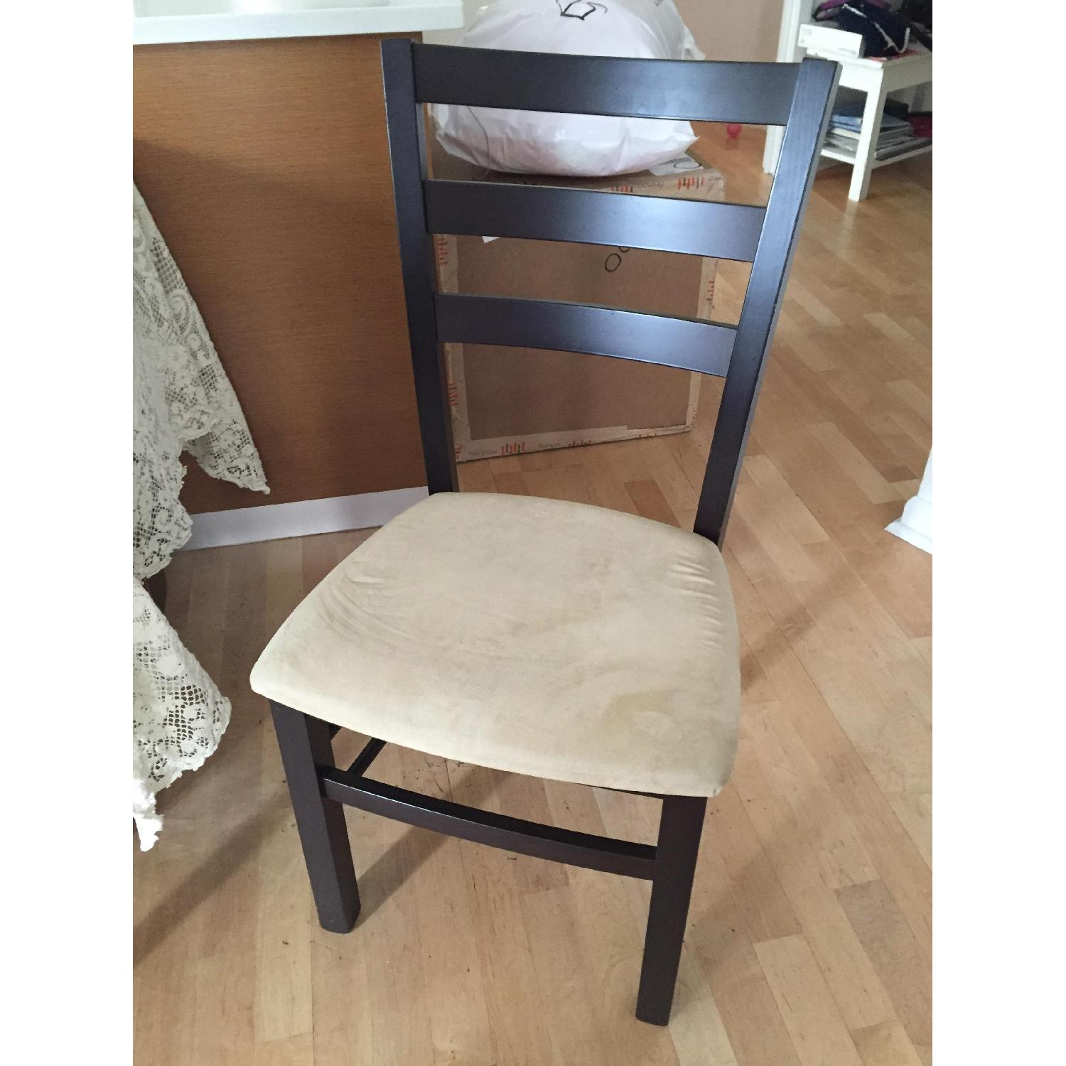 Macy's Wood & Tan Suede Dining Chairs - image-2