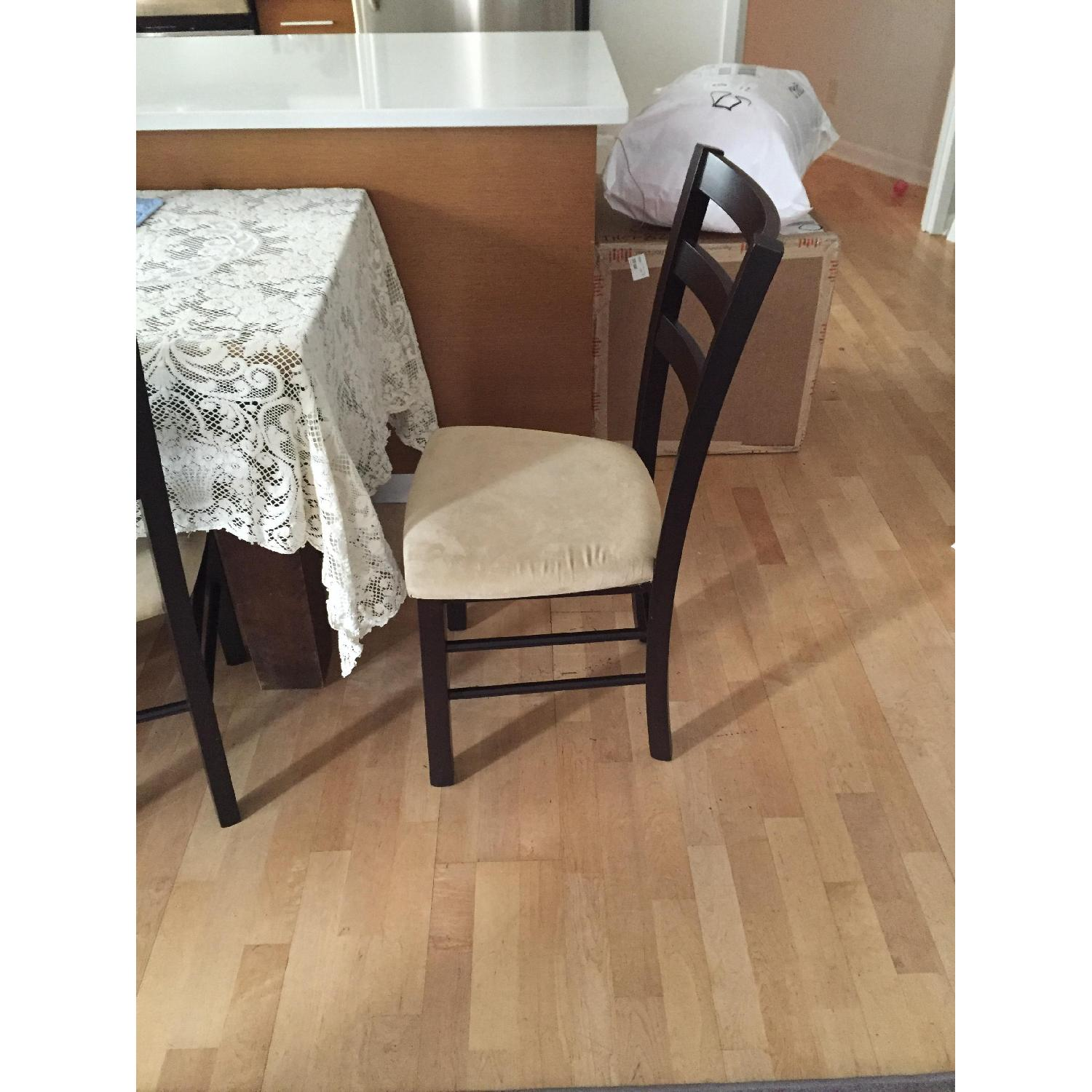 Macy's Wood & Tan Suede Dining Chairs - image-3