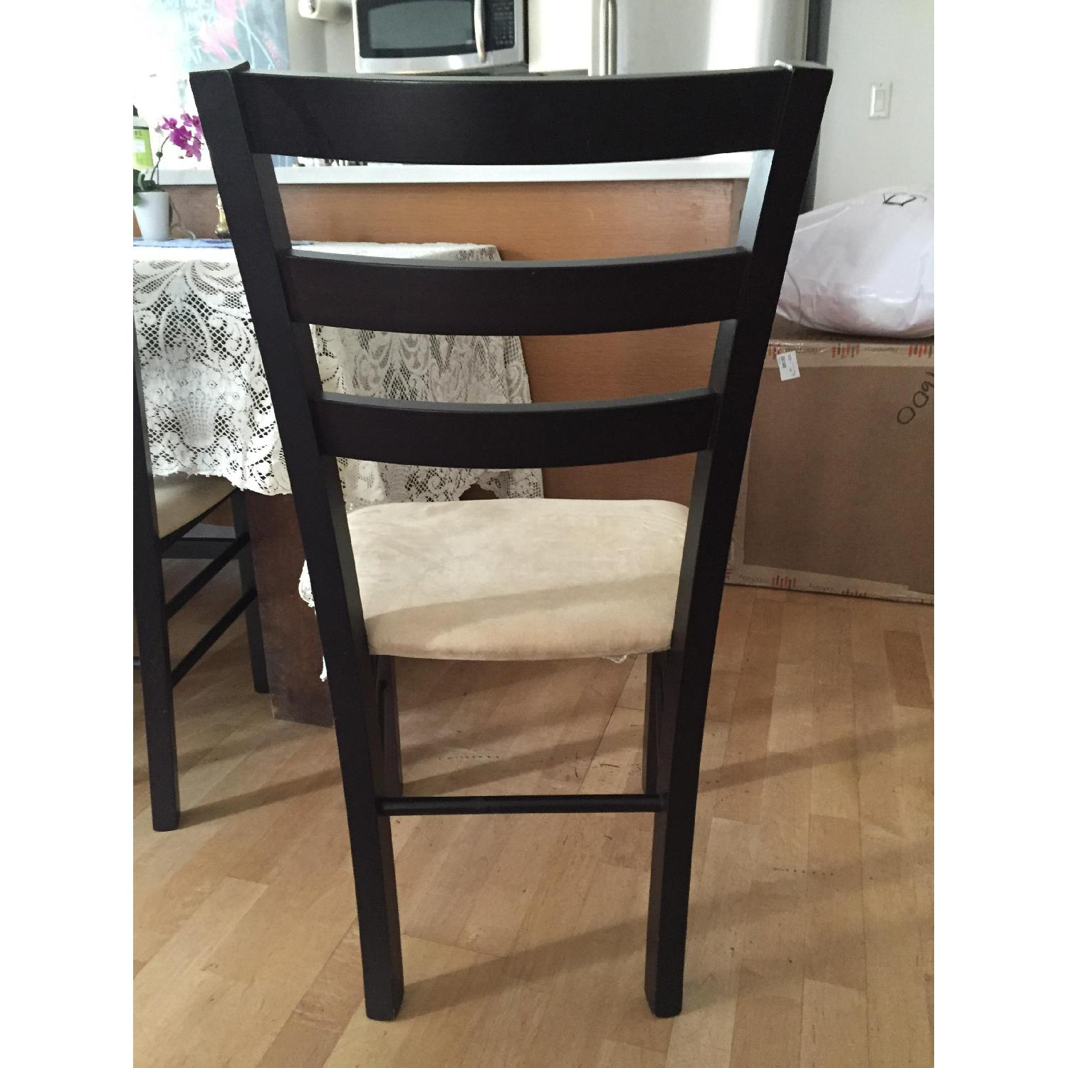 Macy's Wood & Tan Suede Dining Chairs - image-4