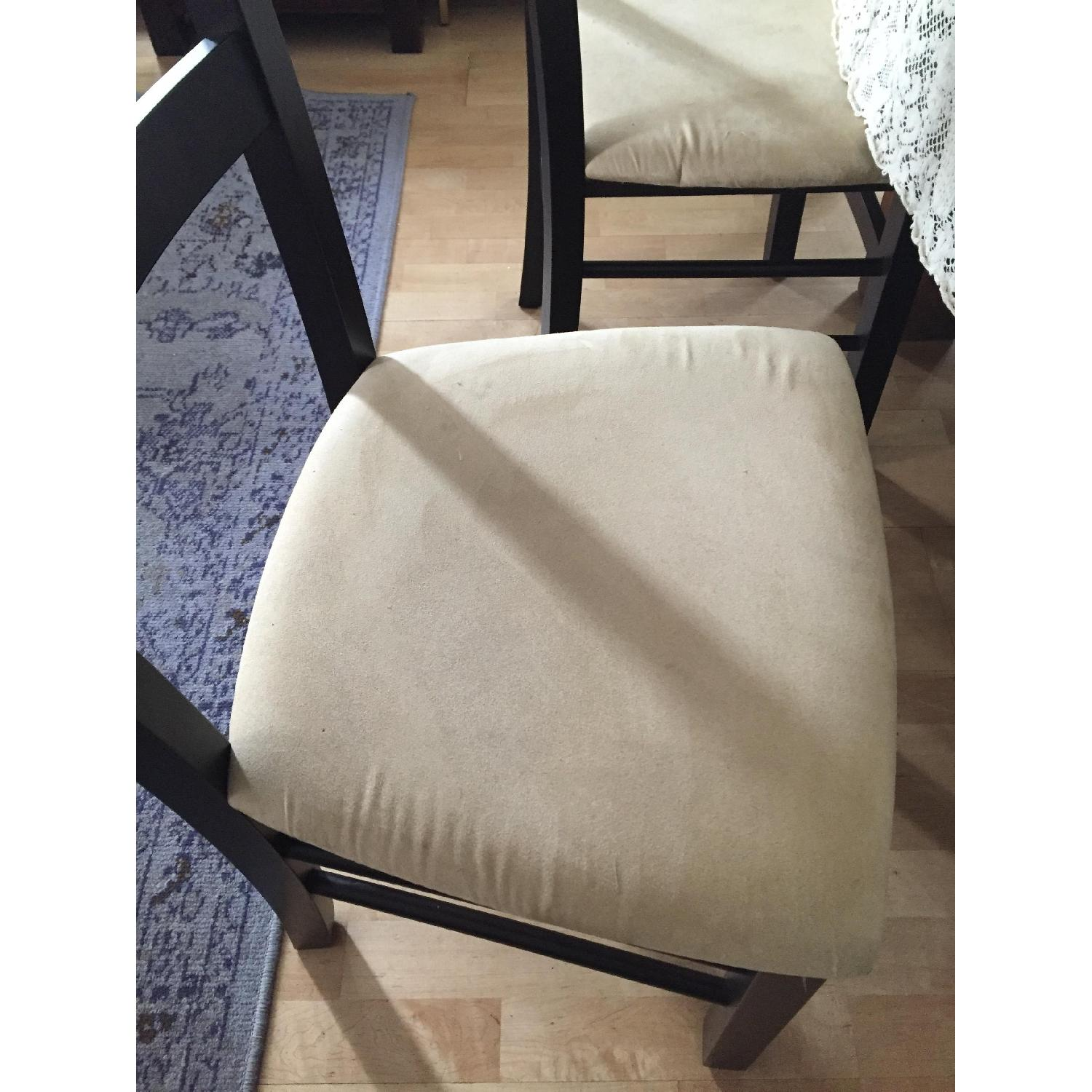Macy's Wood & Tan Suede Dining Chairs - image-5