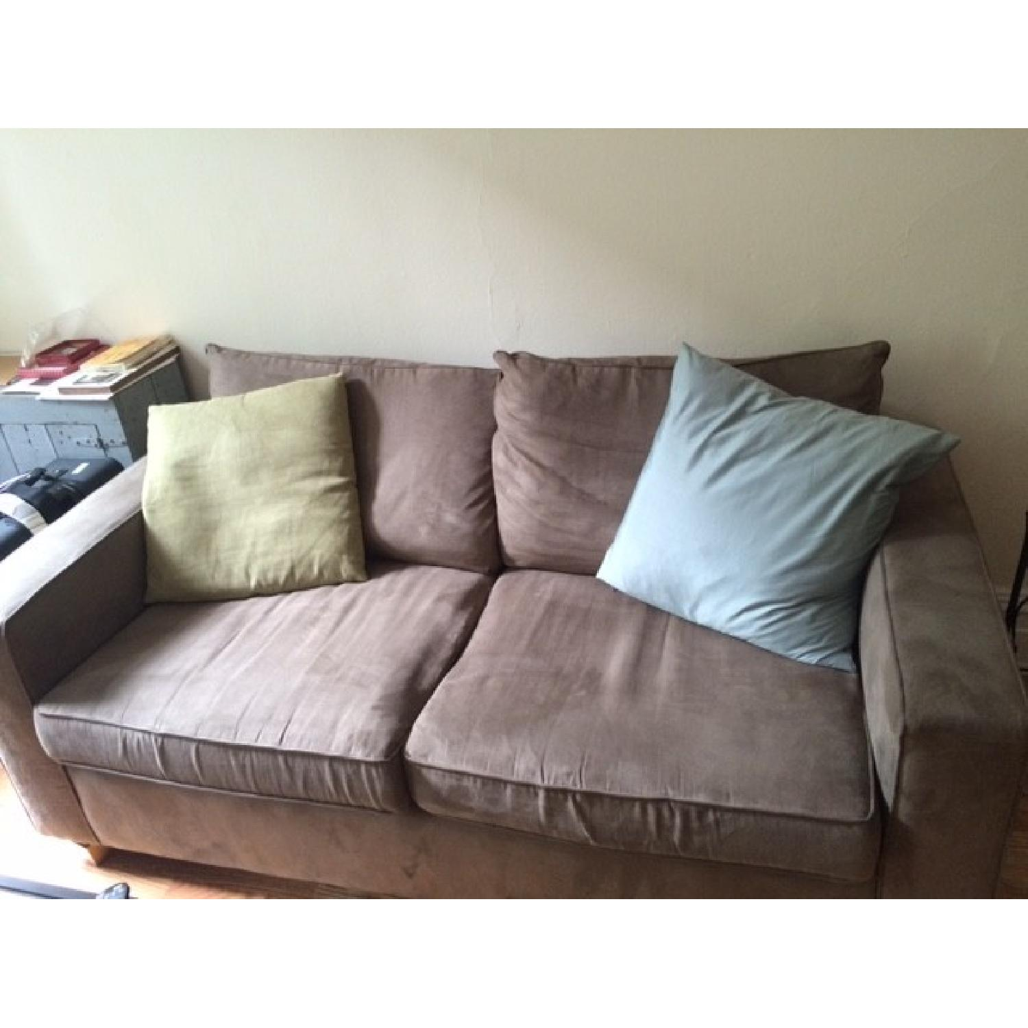 Custom Grey Suede Couch - image-1