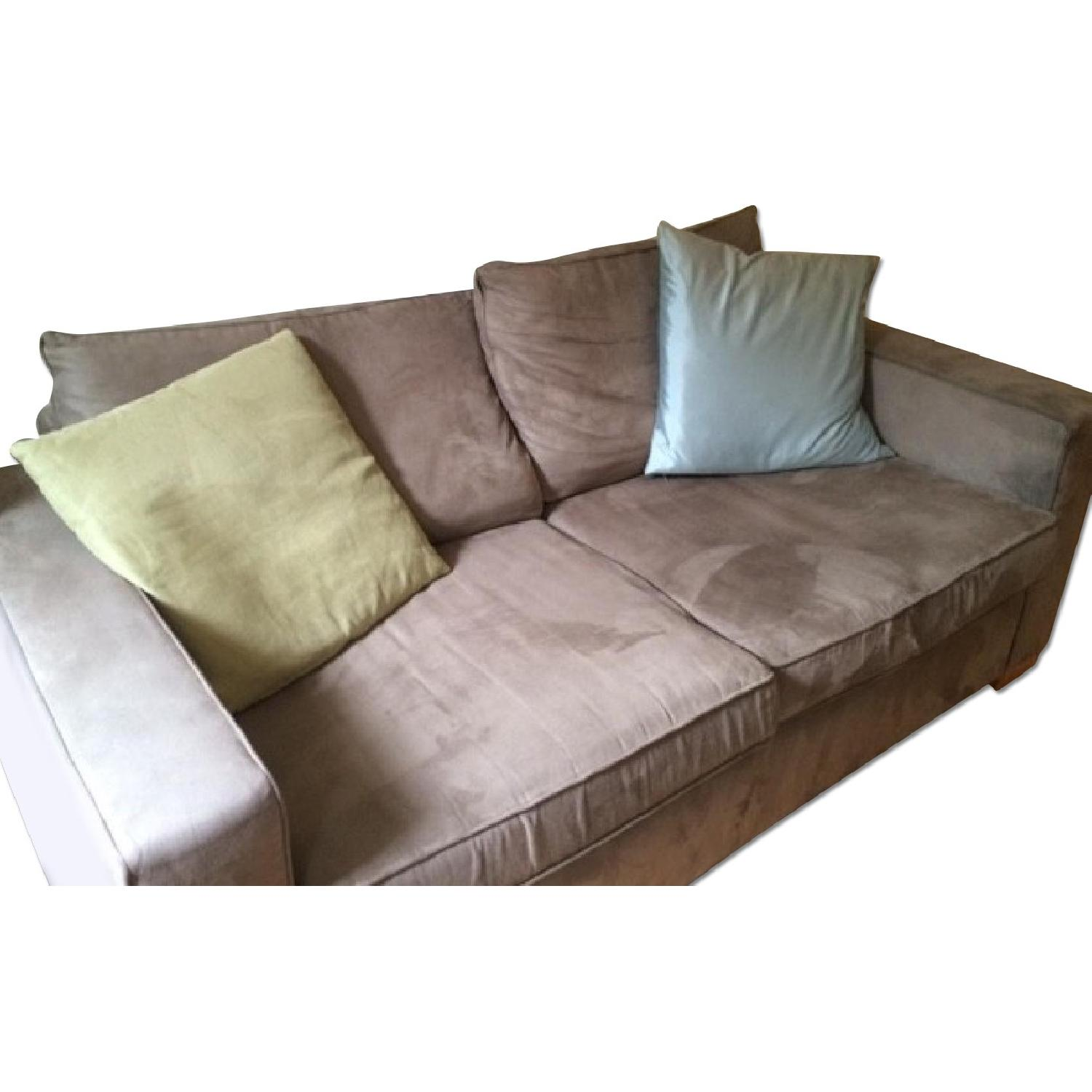 Custom Grey Suede Couch - image-0
