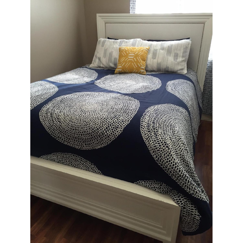 Z Gallerie White Lacquer Wood Bed w/ Velvet Upholstered Headboard - image-1