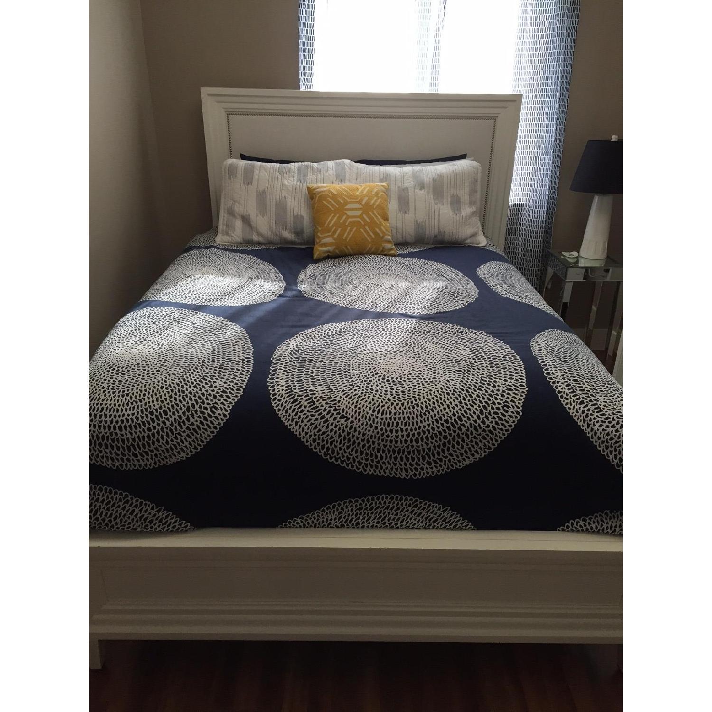 Z Gallerie White Lacquer Wood Bed w/ Velvet Upholstered Headboard - image-2