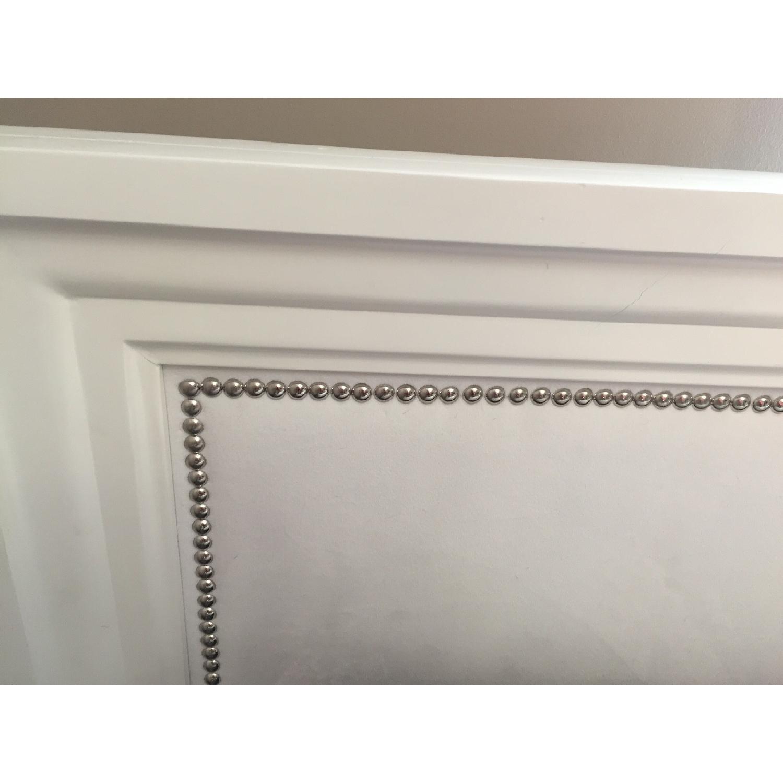 Z Gallerie White Lacquer Wood Bed w/ Velvet Upholstered Headboard - image-3