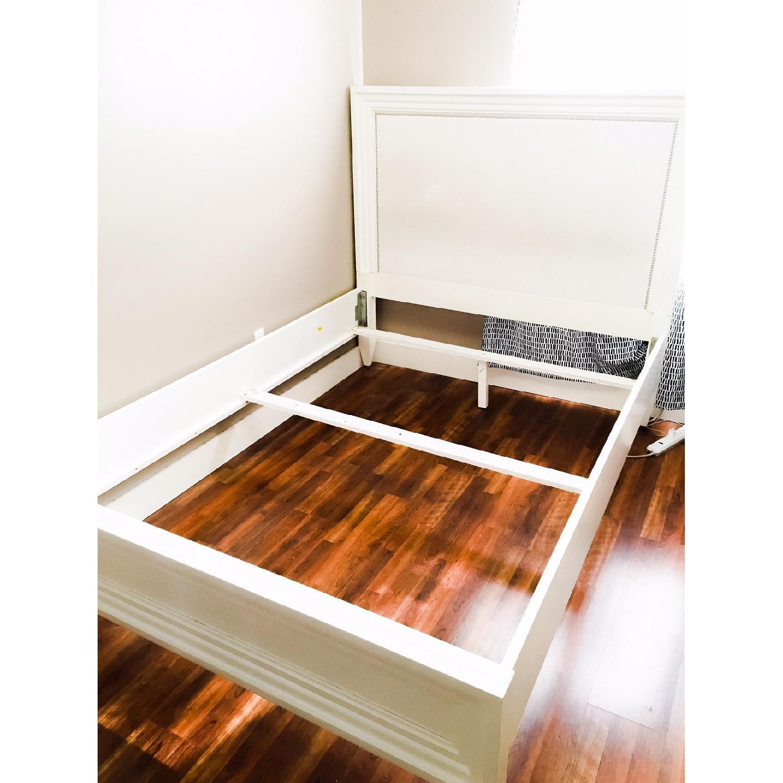 Z Gallerie White Lacquer Wood Bed w/ Velvet Upholstered Headboard - image-4