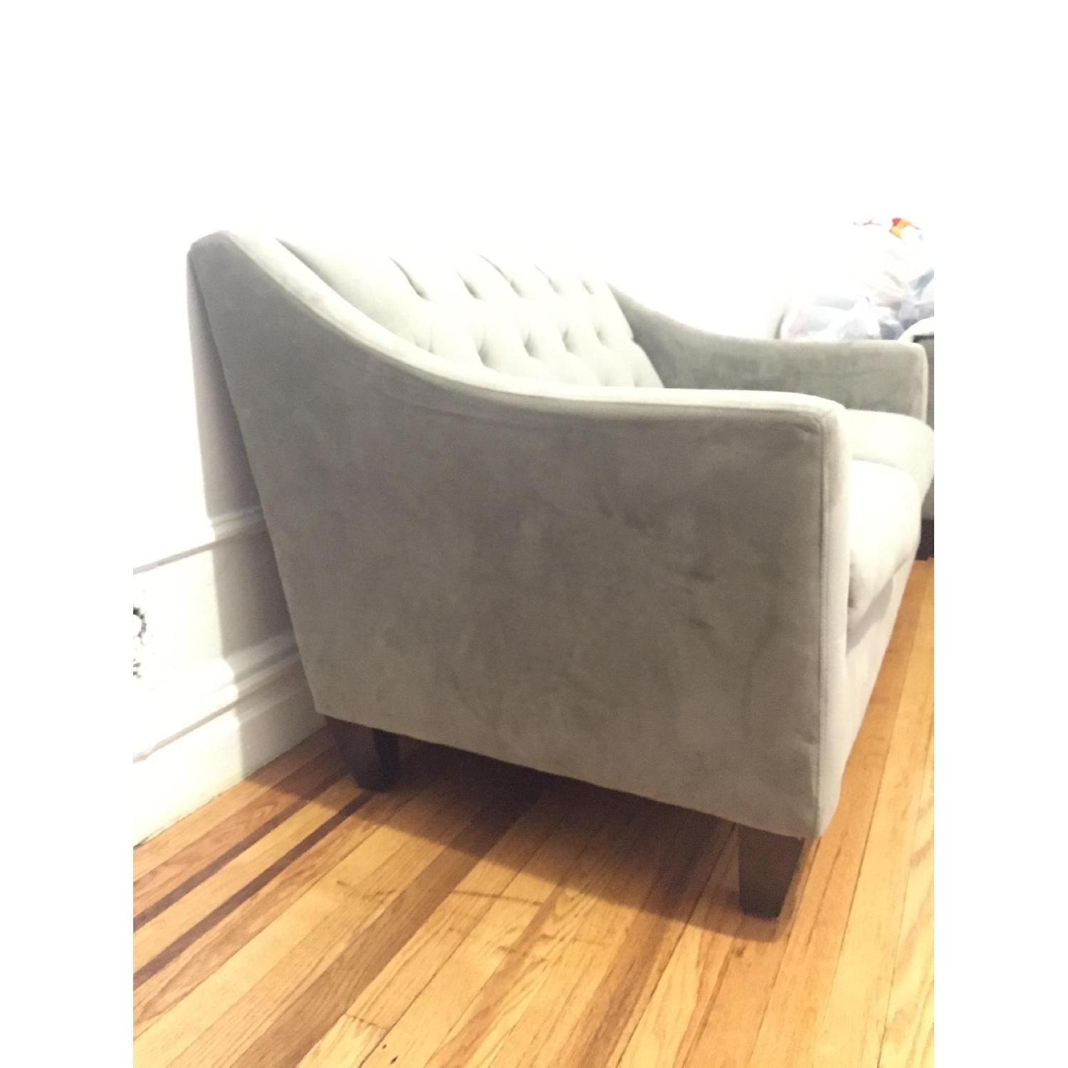 Macy's Max Home Furniture Grey Loveseat + Matching Armchair - image-2