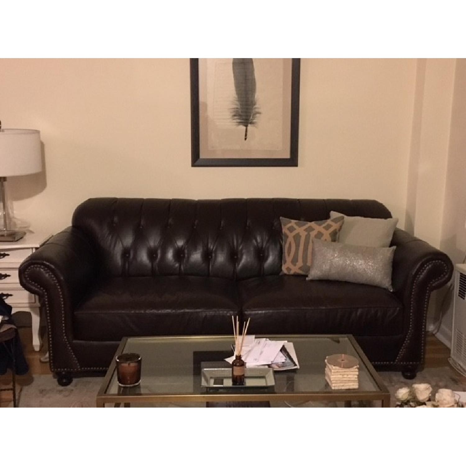 ABC Carpet & Home Brown Leather Couch w/ Nailhead Detailing - image-3