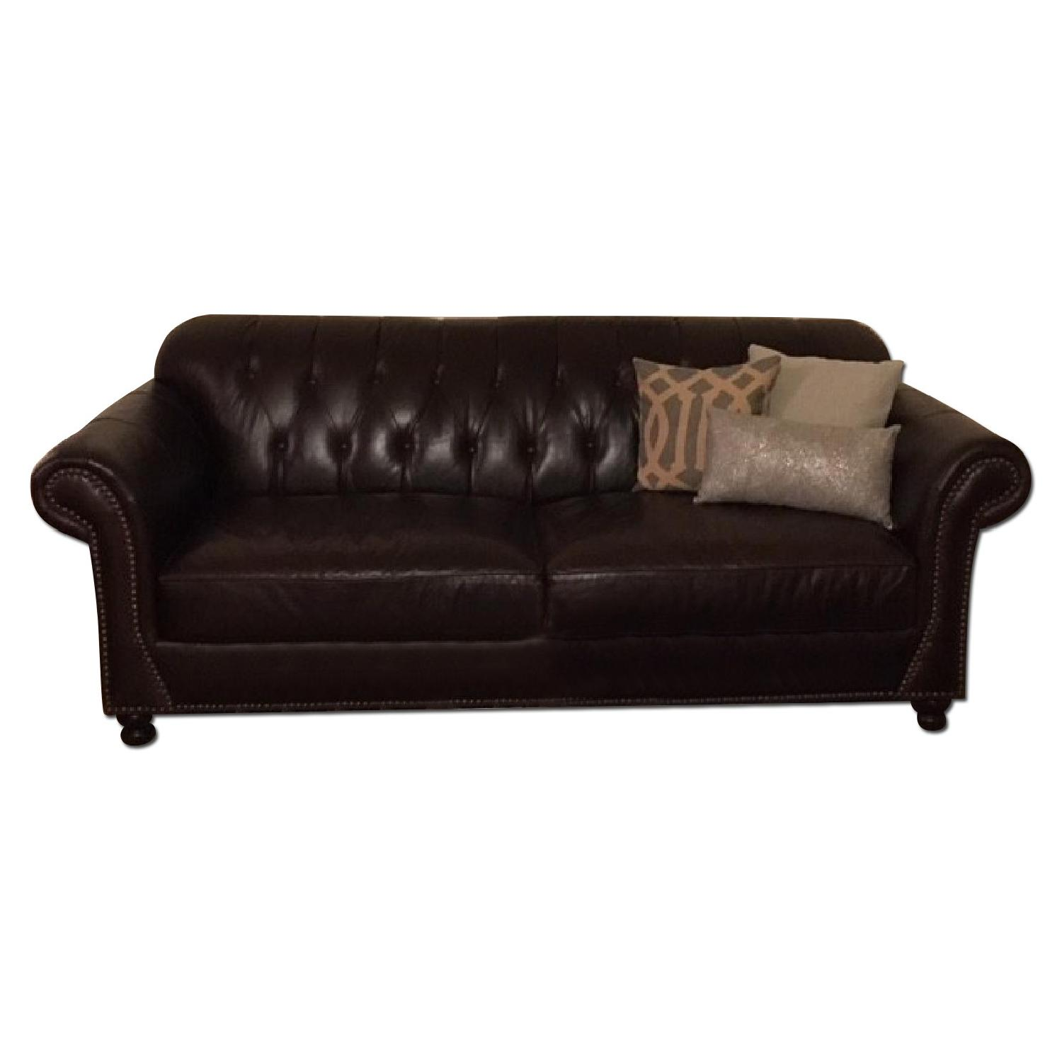 ABC Carpet & Home Brown Leather Couch w/ Nailhead Detailing - image-0