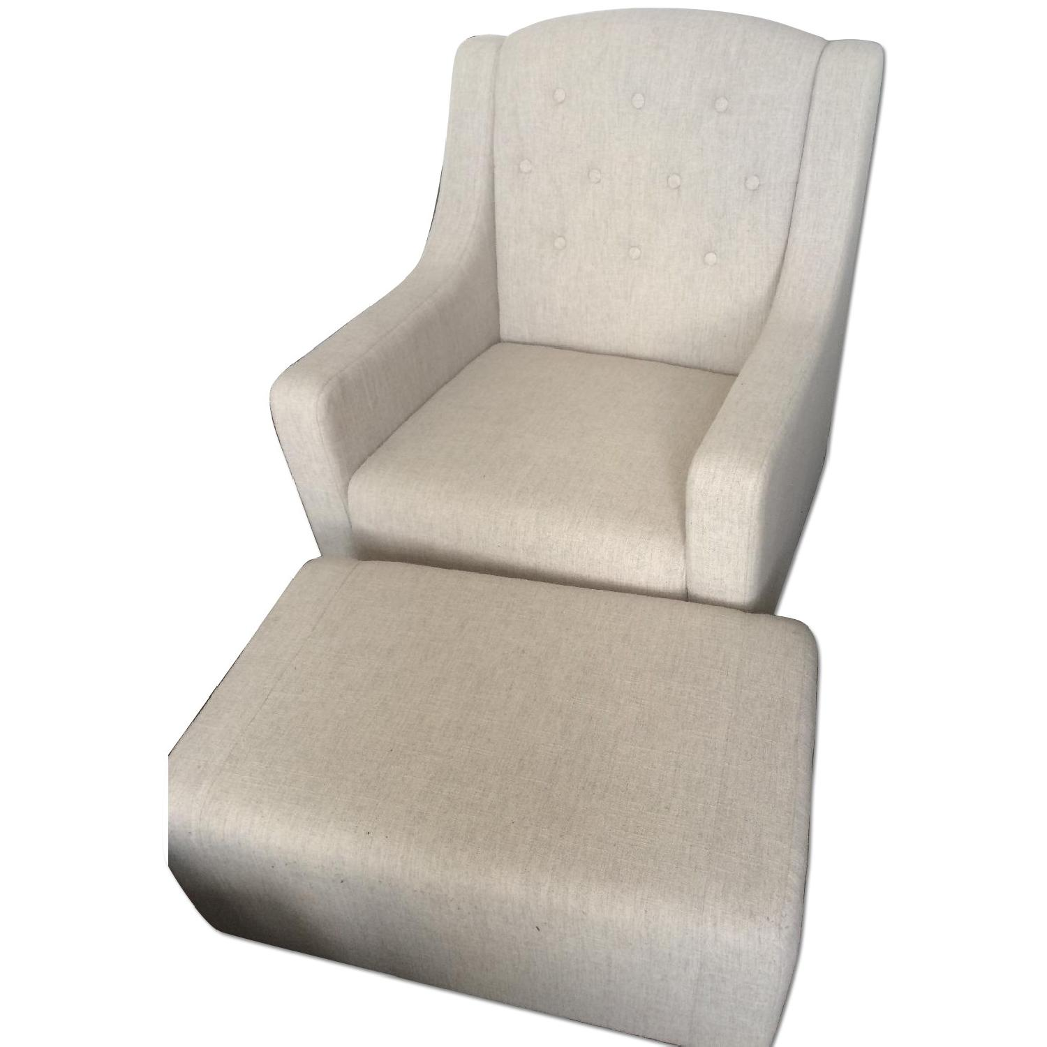 Three Posts Upholstered Club Arm Chair & Ottoman - image-0