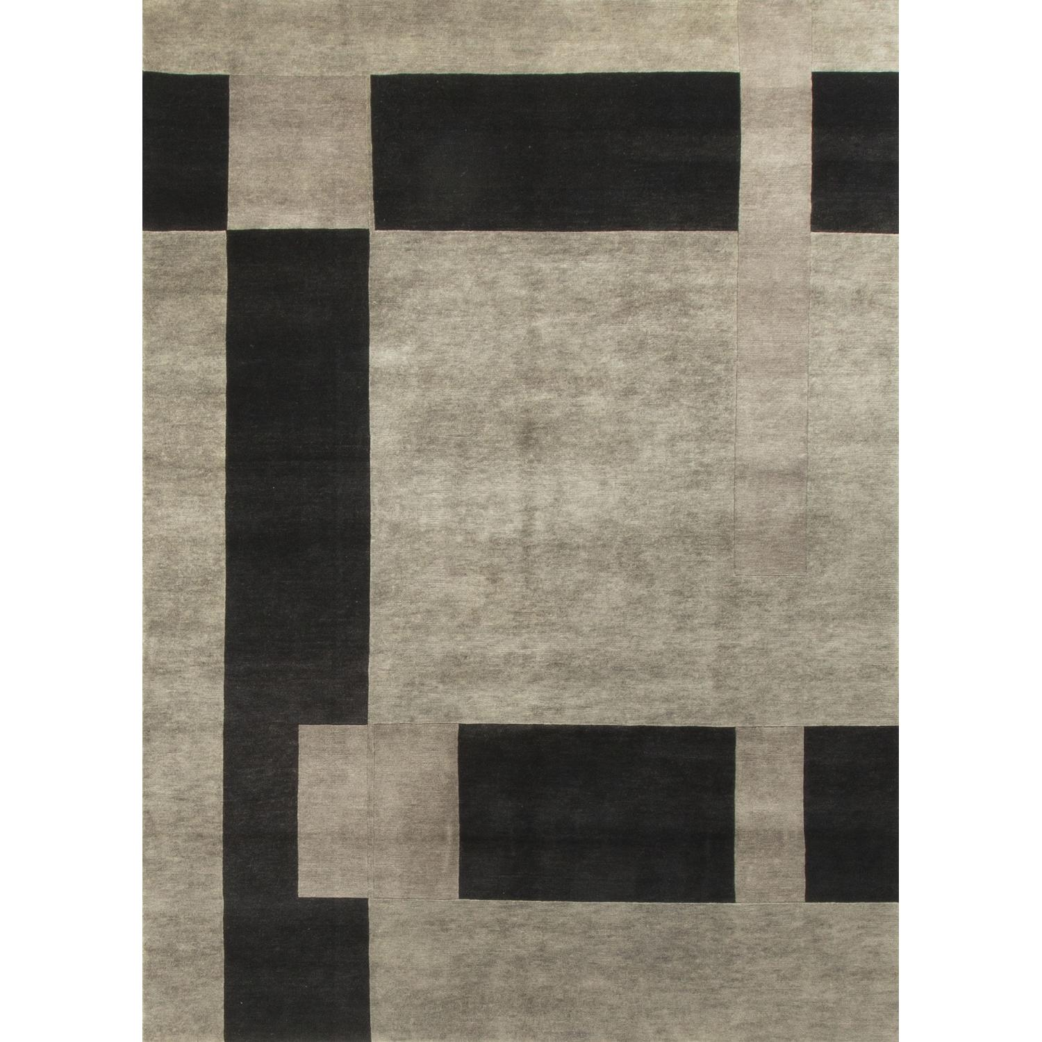 Modern Contemporary Hand Knotted Wool Rug in Black/Grey - image-0