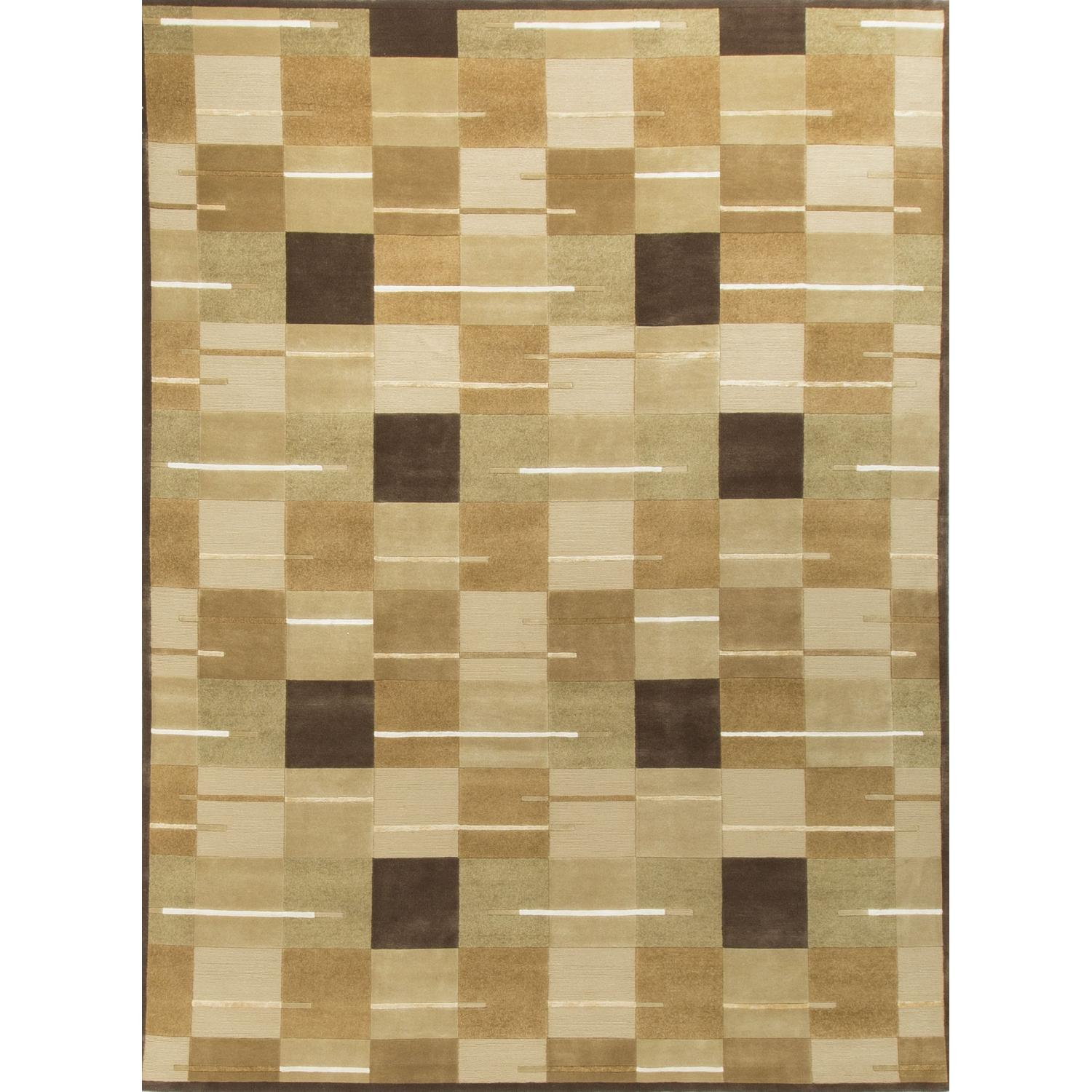 Modern Contemporary Hand Knotted Wool Rug in Beige/Multi - image-0