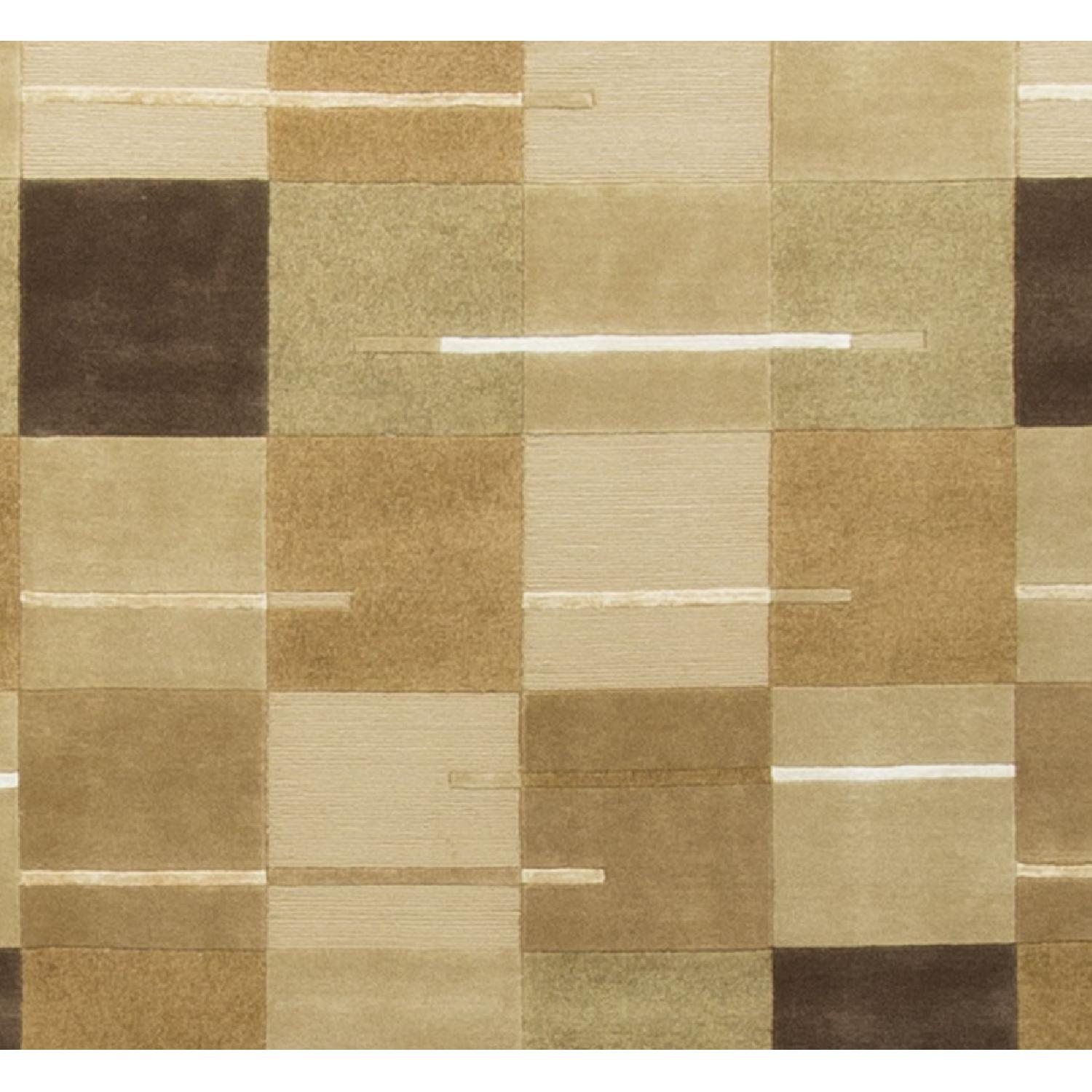 Modern Contemporary Hand Knotted Wool Rug in Beige/Multi - image-2