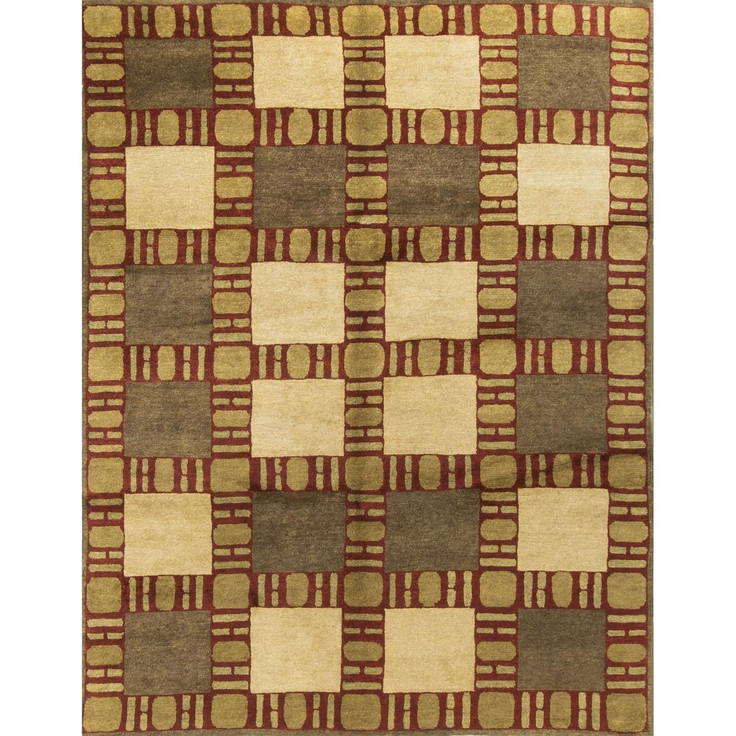 Modern Contemporary Hand Knotted Wool Rug in Beige/Brown/Red - image-0