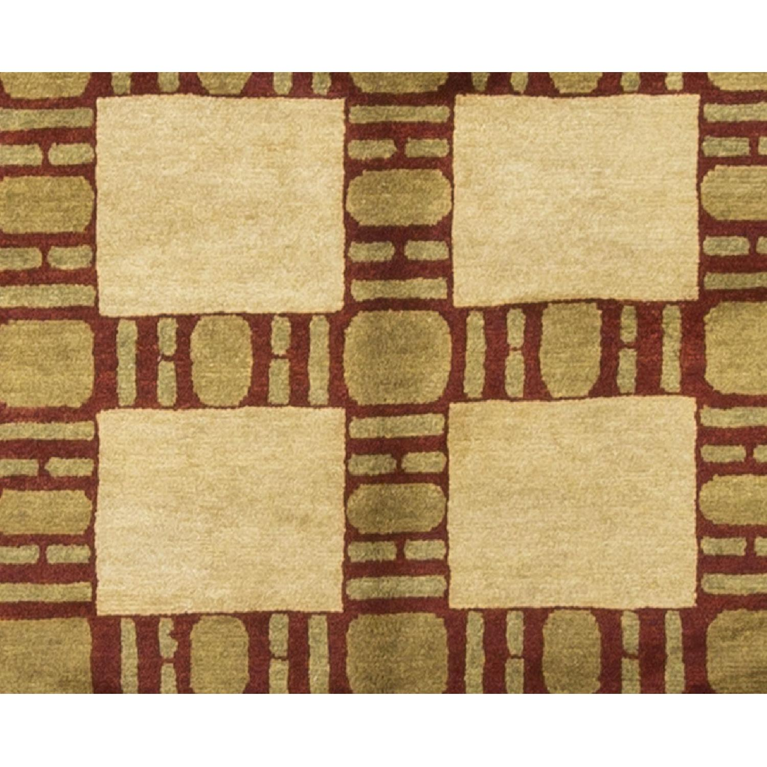 Modern Contemporary Hand Knotted Wool Rug in Beige/Brown/Red - image-2