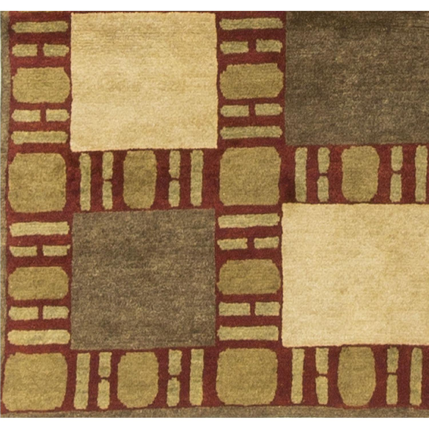 Modern Contemporary Hand Knotted Wool Rug in Beige/Brown/Red - image-3