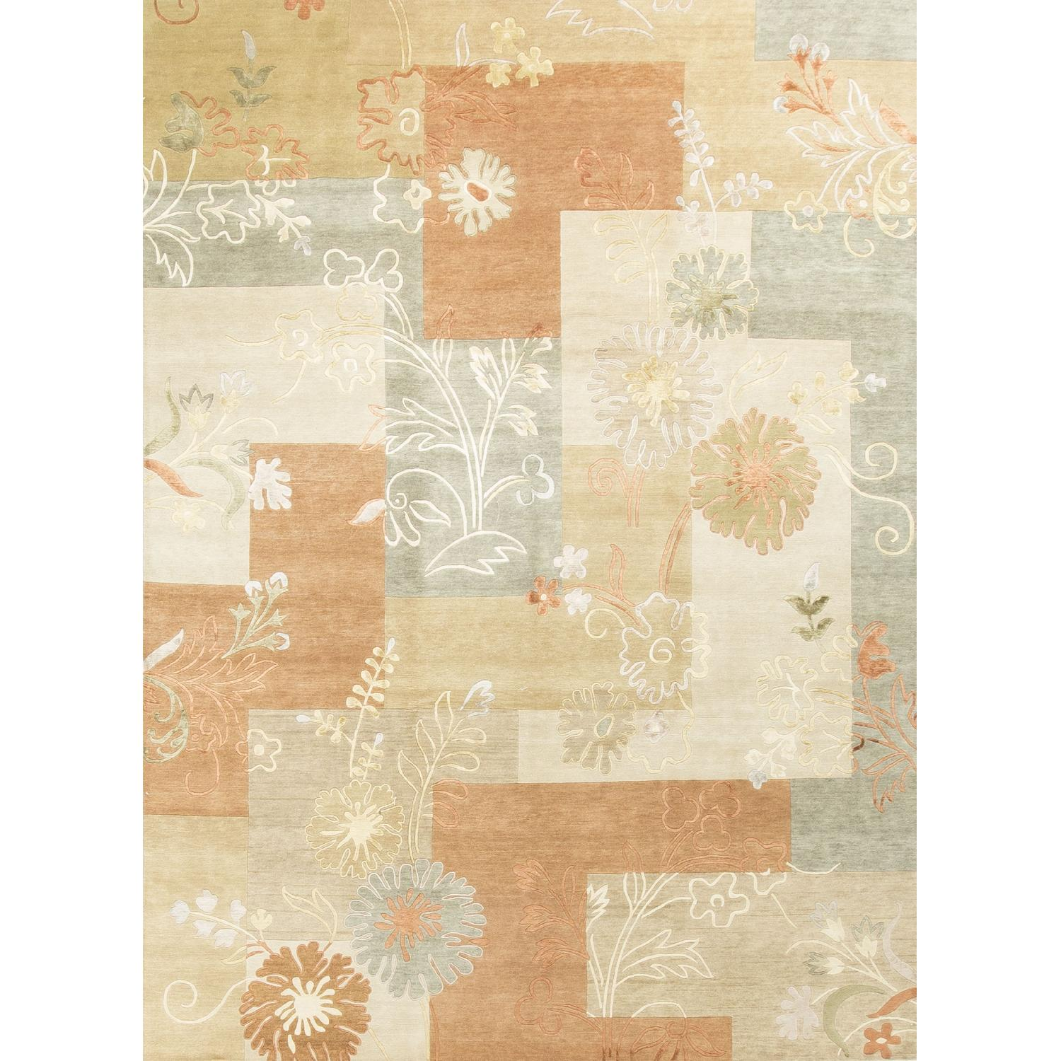 Modern Contemporary Hand Knotted Wool Rug in Orange/Beige/Multi - image-0