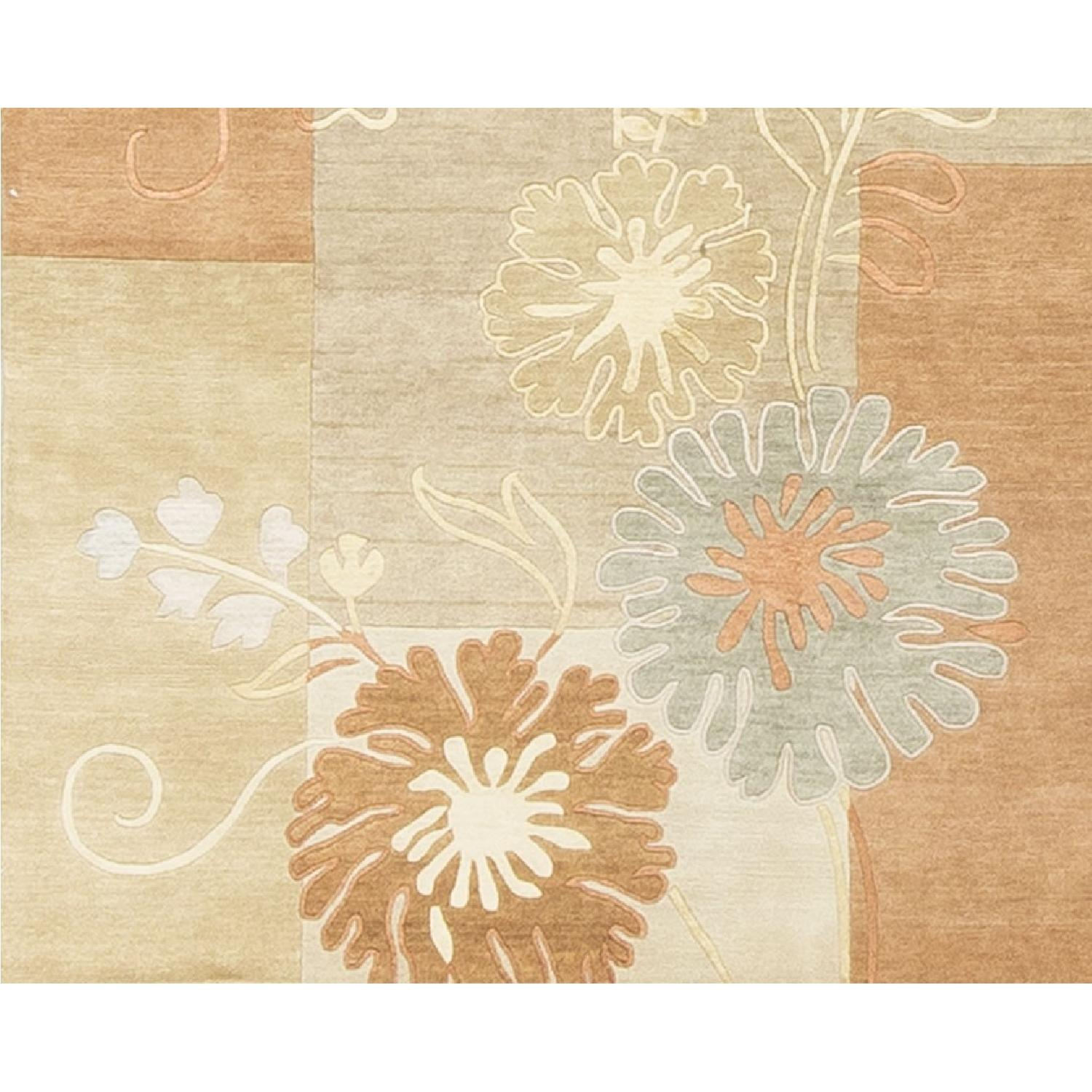 Modern Contemporary Hand Knotted Wool Rug in Orange/Beige/Multi - image-3