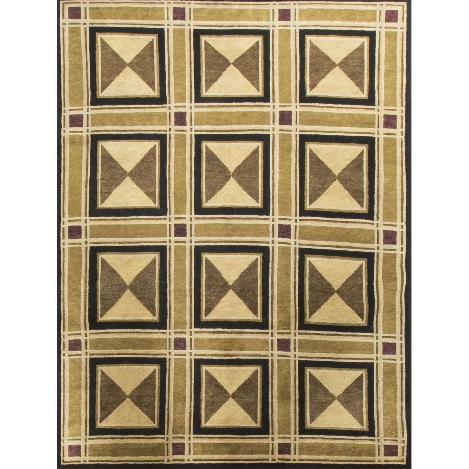Modern Contemporary Hand Knotted Wool Rug in Beige/Brown/Black - image-0