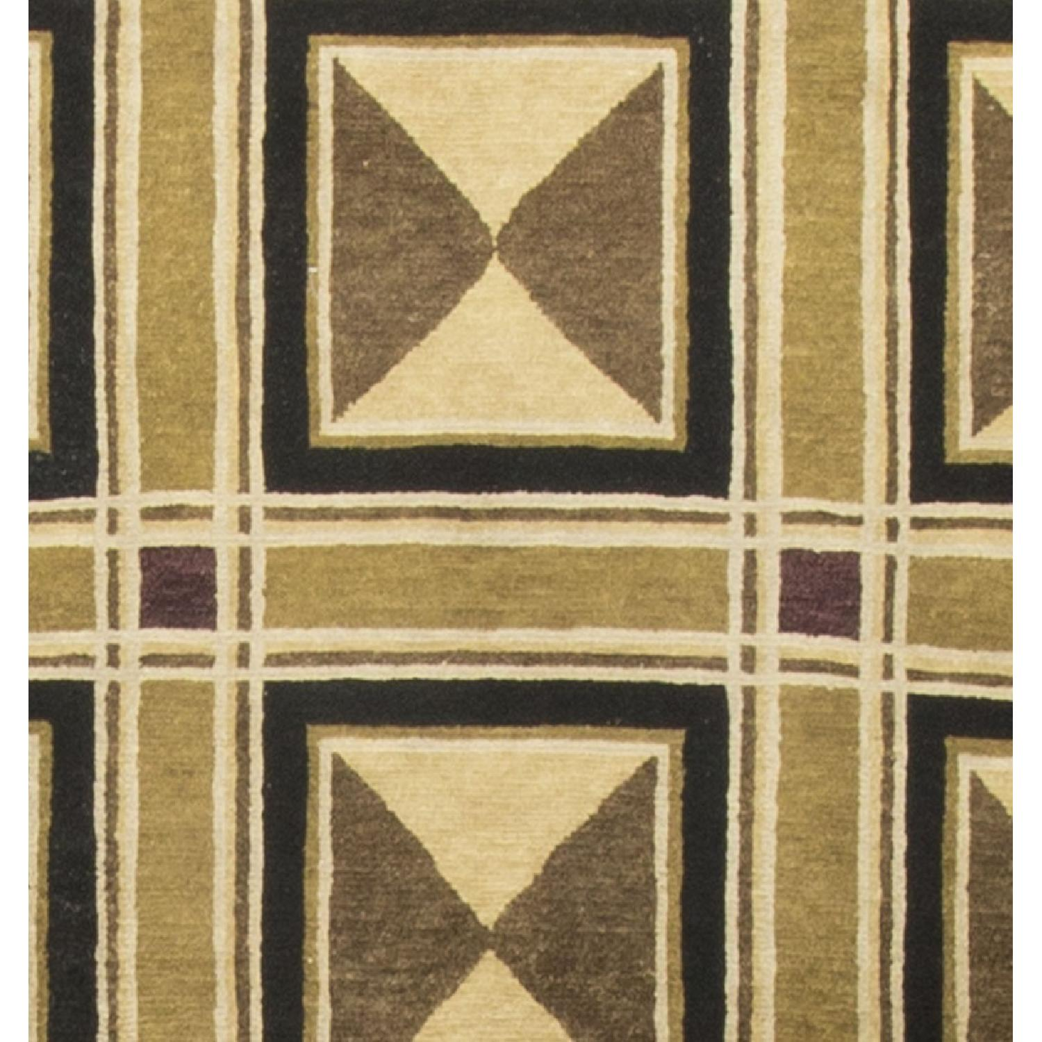 Modern Contemporary Hand Knotted Wool Rug in Beige/Brown/Black - image-2