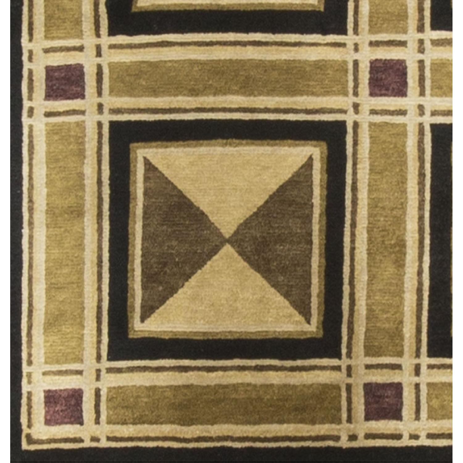 Modern Contemporary Hand Knotted Wool Rug in Beige/Brown/Black - image-3