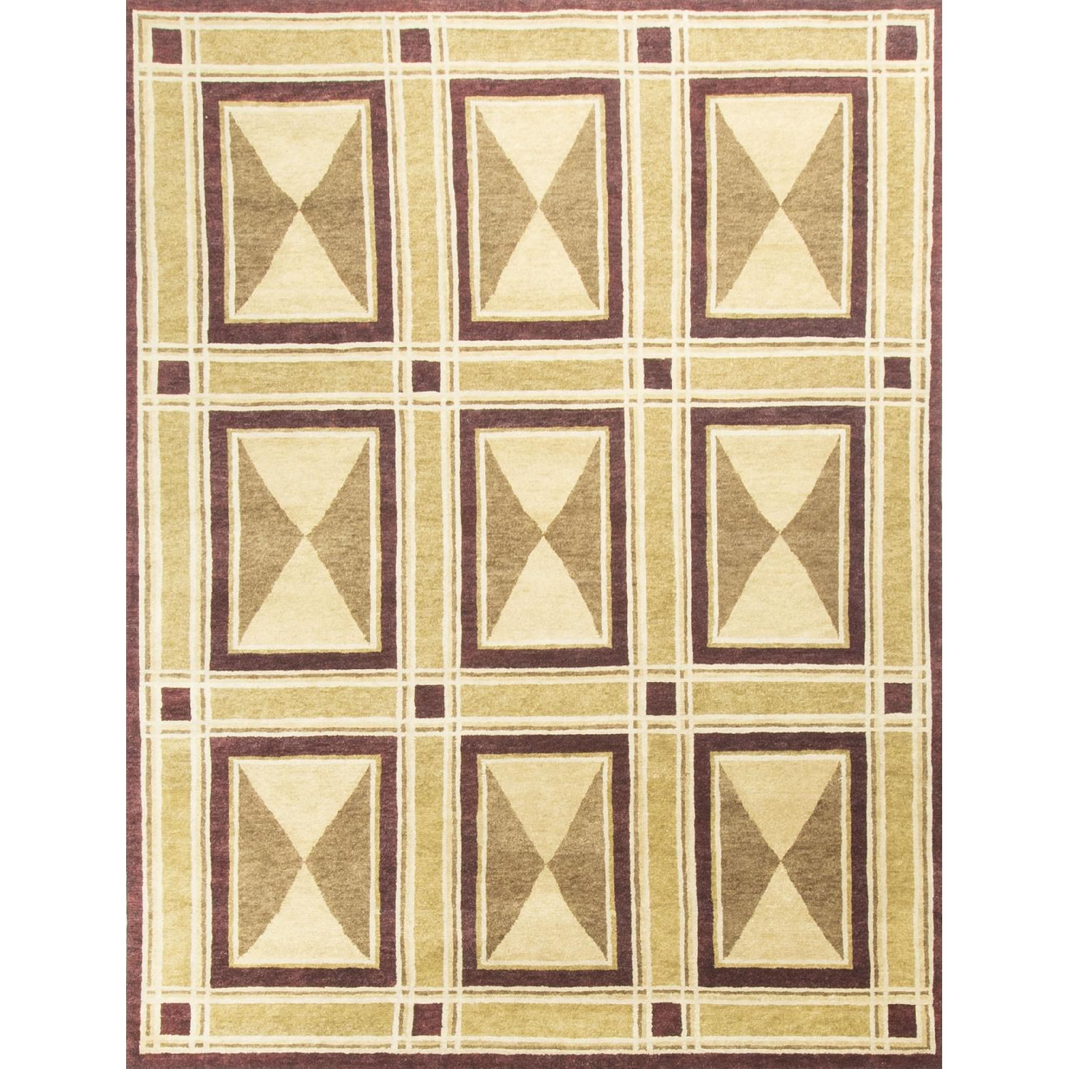 Modern Contemporary Hand Knotted Wool Rug in Beige/Red - image-0