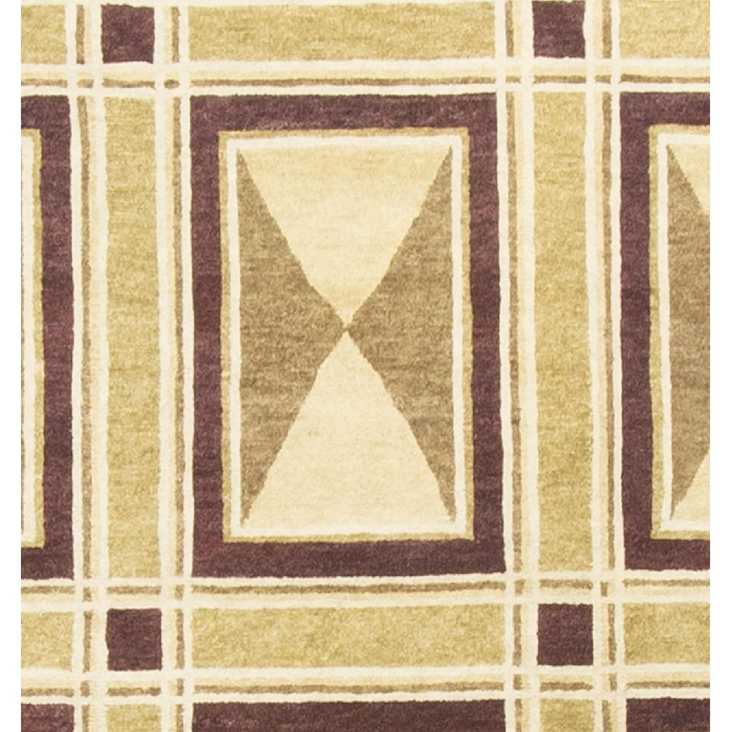 Modern Contemporary Hand Knotted Wool Rug in Beige/Red - image-2