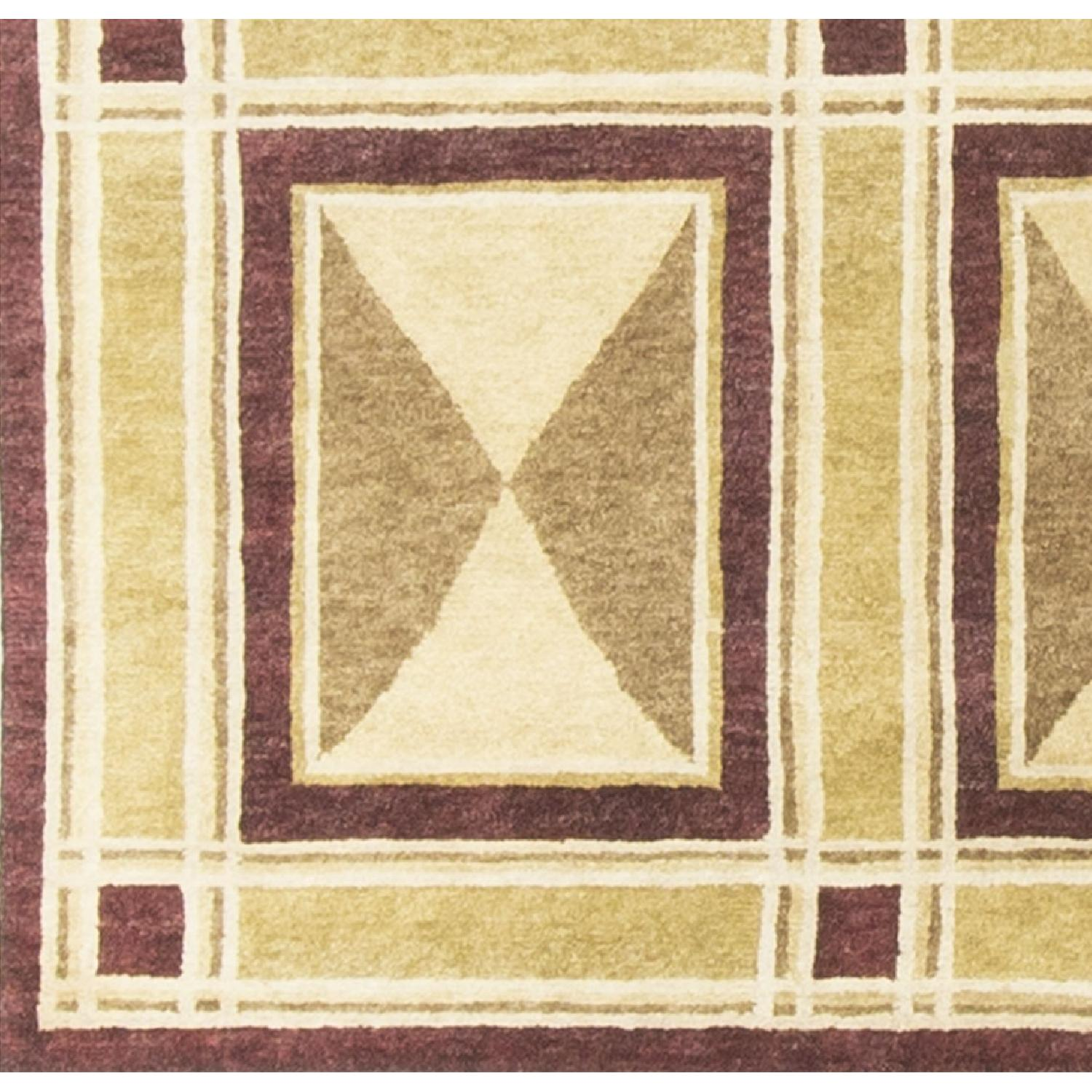 Modern Contemporary Hand Knotted Wool Rug in Beige/Red - image-3