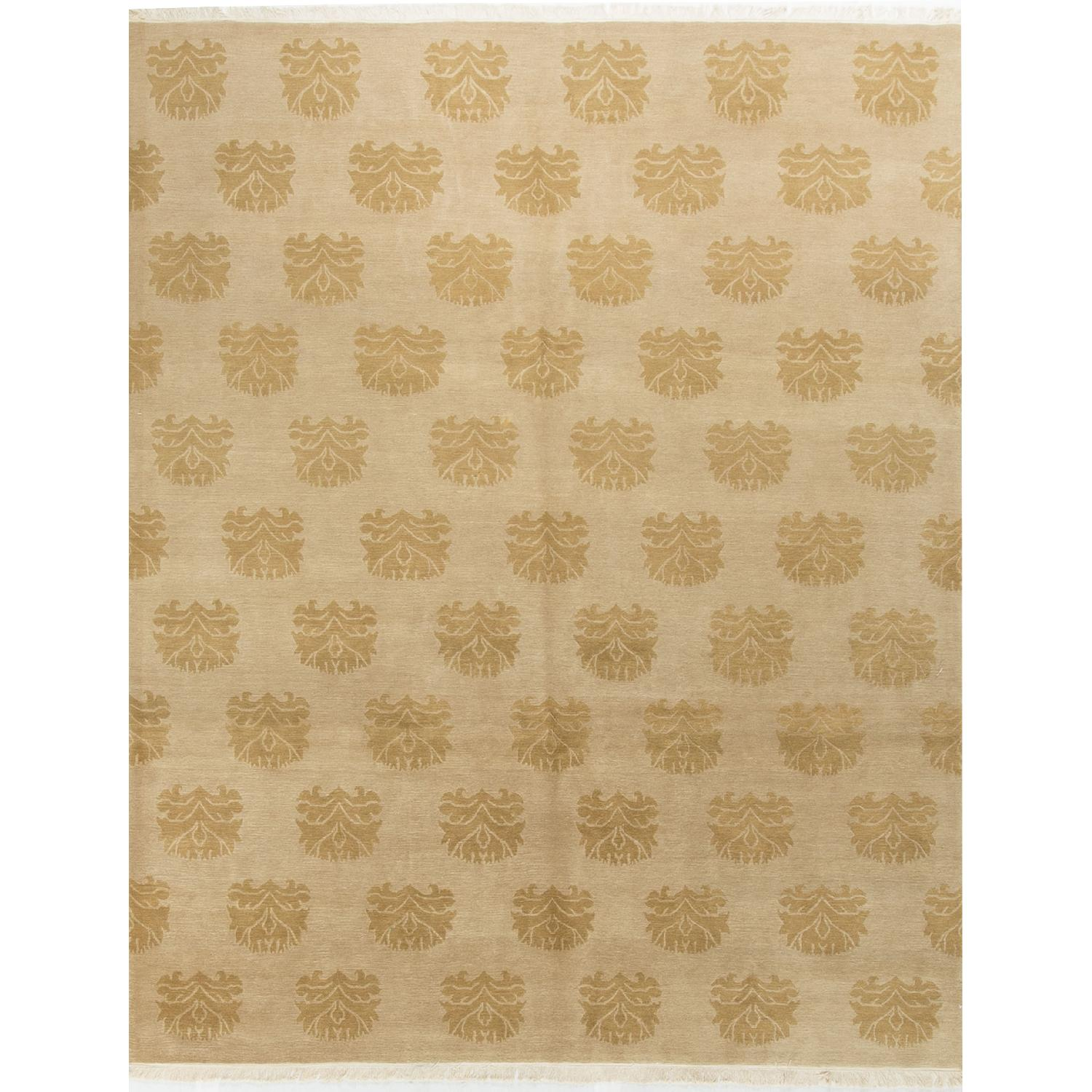 Modern Contemporary Hand Knotted Wool Rug in Beige - image-0