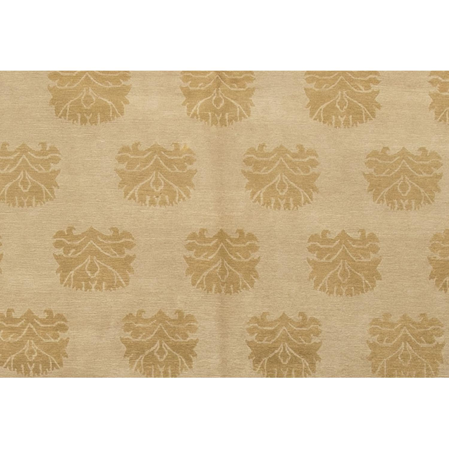 Modern Contemporary Hand Knotted Wool Rug in Beige - image-2